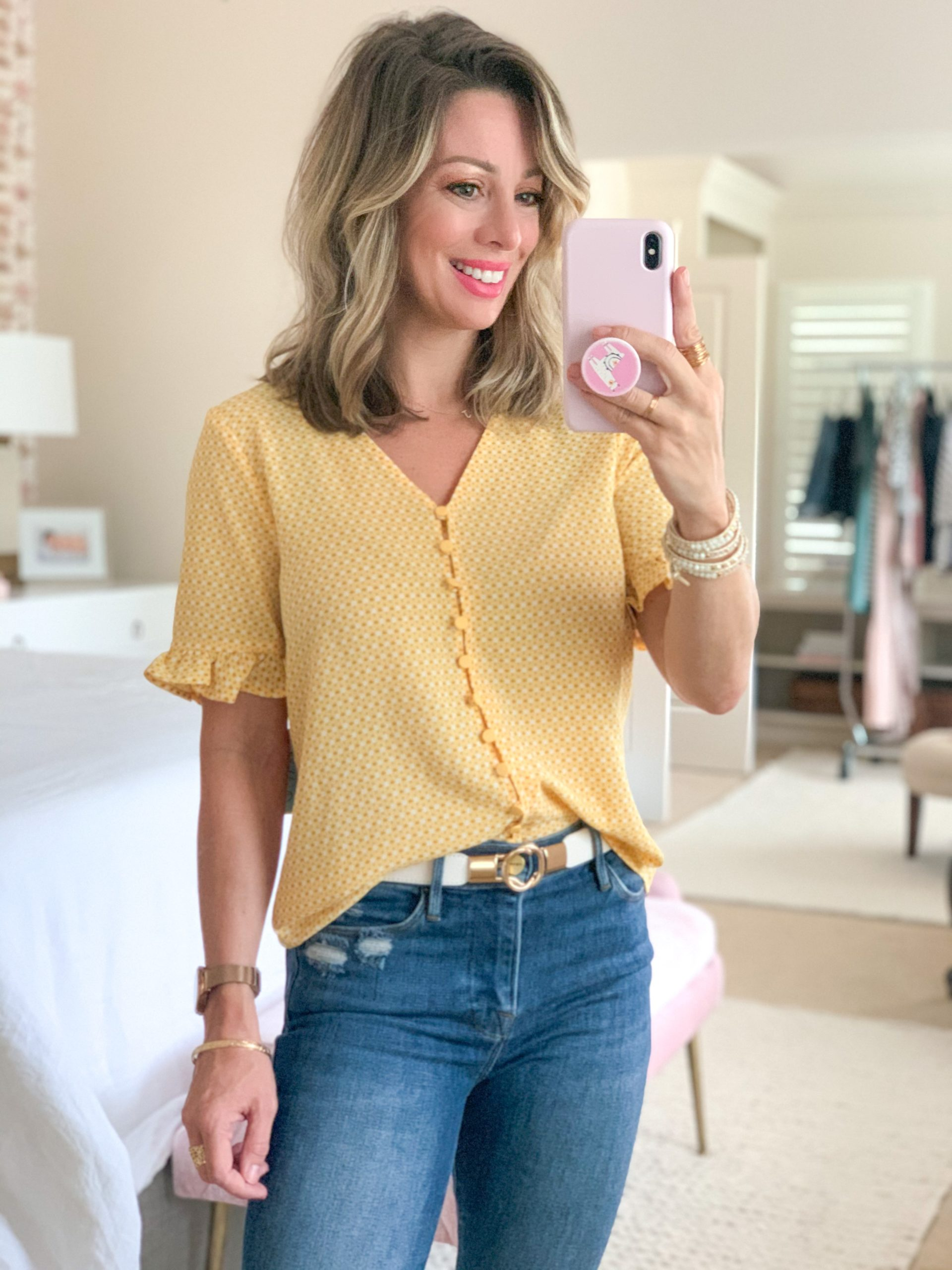 Spring Outfit, Nordstrom, Geo Print Ruffle Sleeve Top, Skinny Jeans, Gold/White Belt