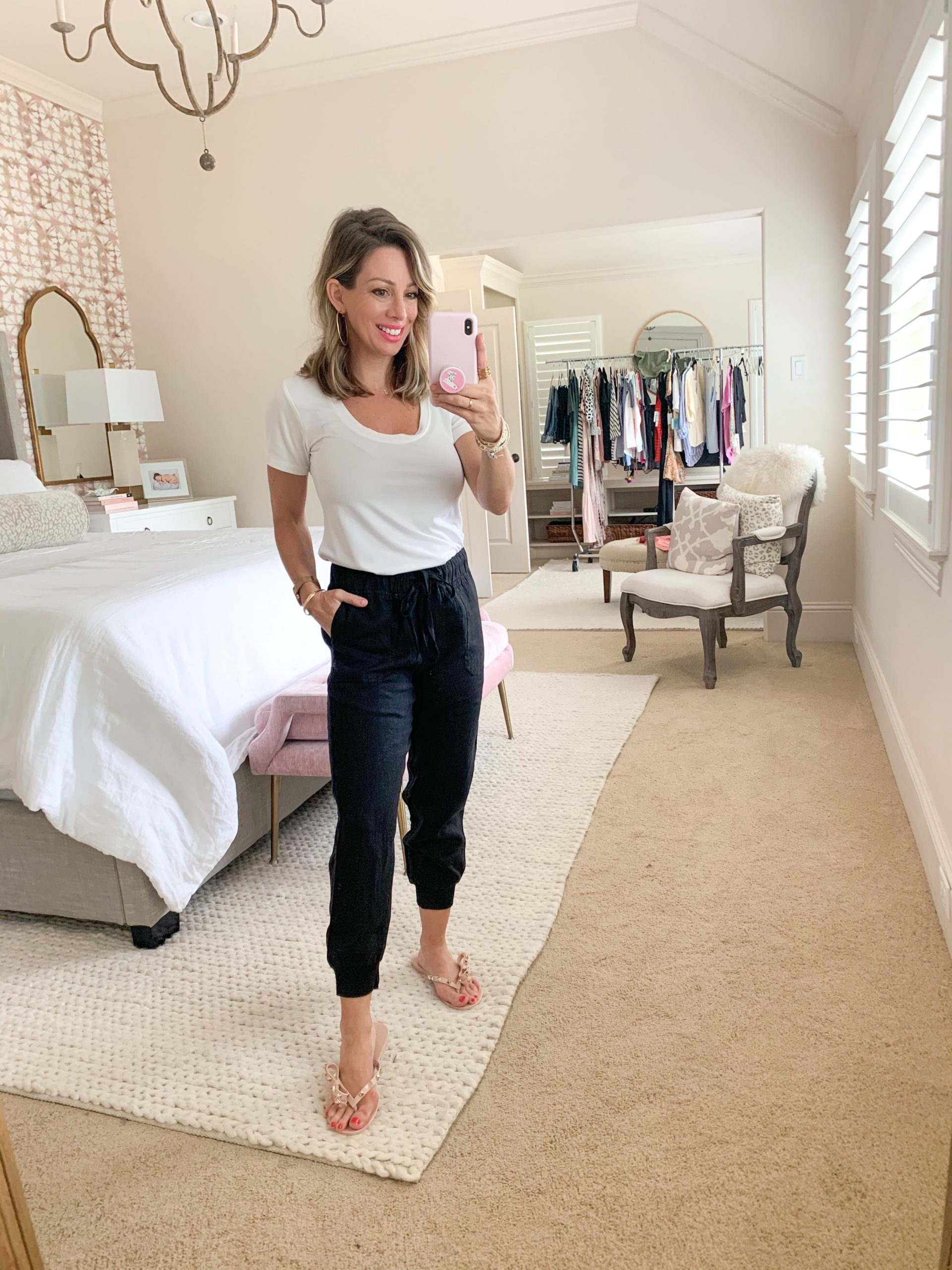 Spring and Summer Outfits, Scoop Neck Tee, Linen Joggers, Studded Flip Flops