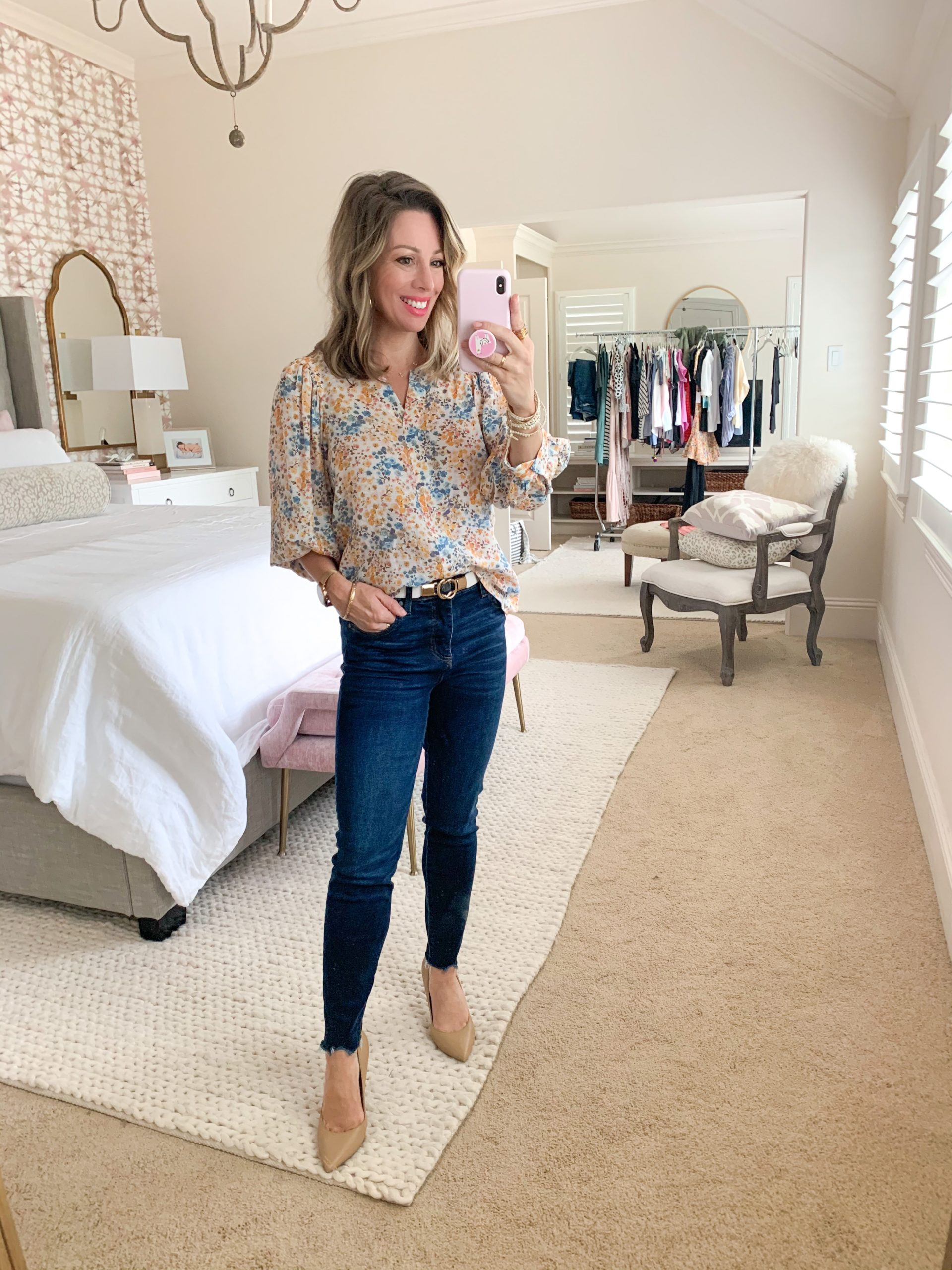 Spring Outfit, Nordstrom & JCP, Floral Top, Dark Denim Jeans, Heels, Gold/White Belt