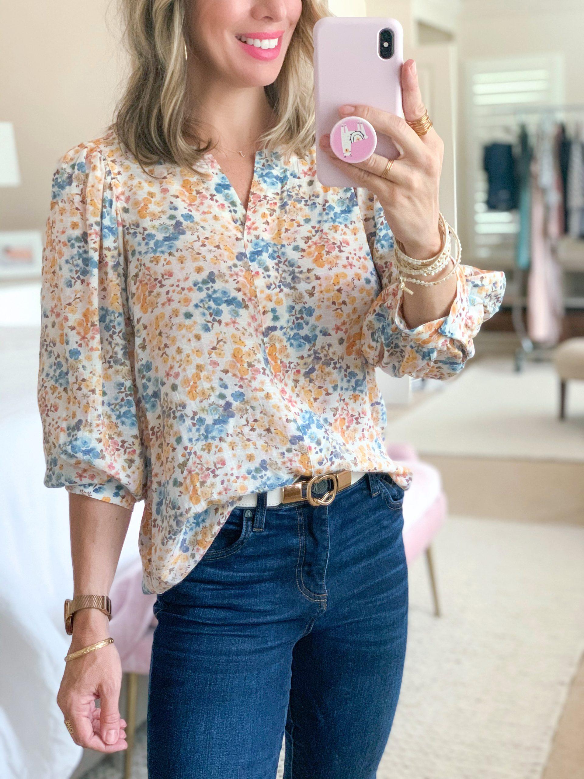 Spring Outfit Nordstrom & JCP: Crew Split Neck Floral Top, Dark Denim Jeans, Gold/White Belt