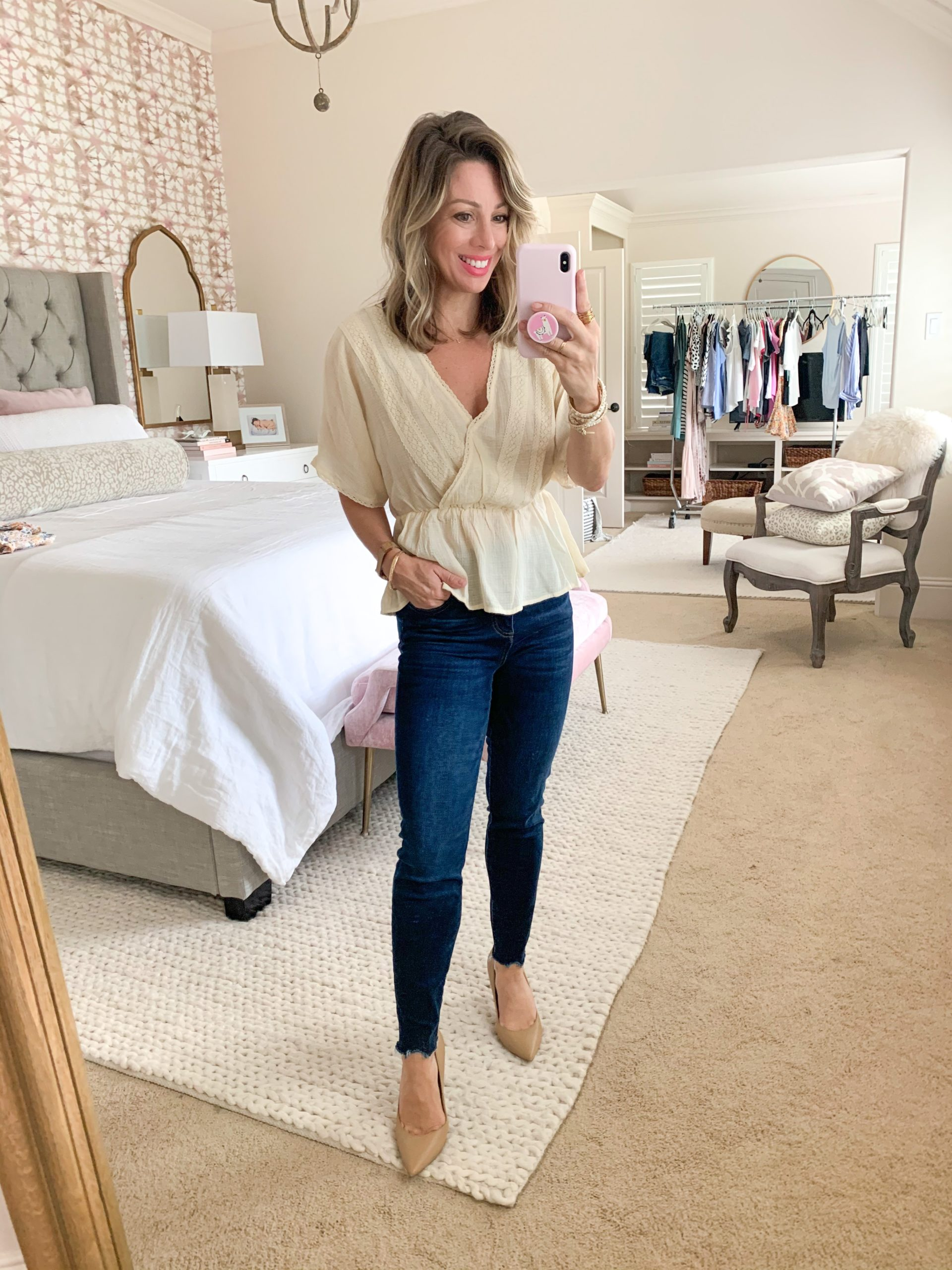 Spring Outfit, Nordstrom & LOFT, Embroidered Peplum Top, Dark Denim, Nude Heels
