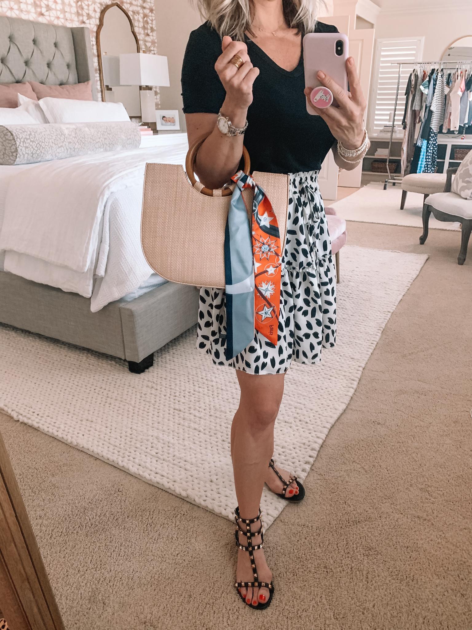 Amazon Fashion - Black V-Neck Tee, Leopard Dot Skirt, Studded Sandals