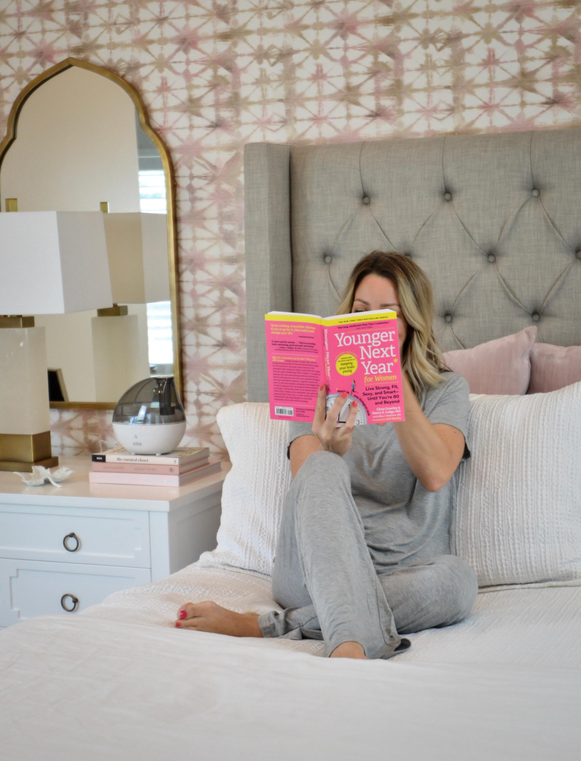 Younger Next Year Book, Grey Pajamas, Humidifier