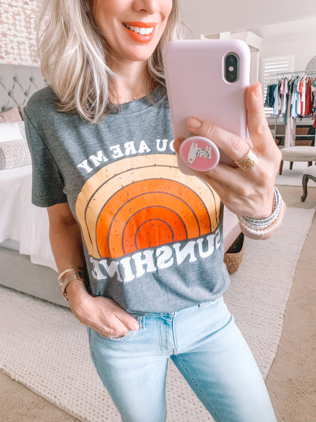 Amazon Fashion Finds, Sunshine Tee, Girlfriend Jeans