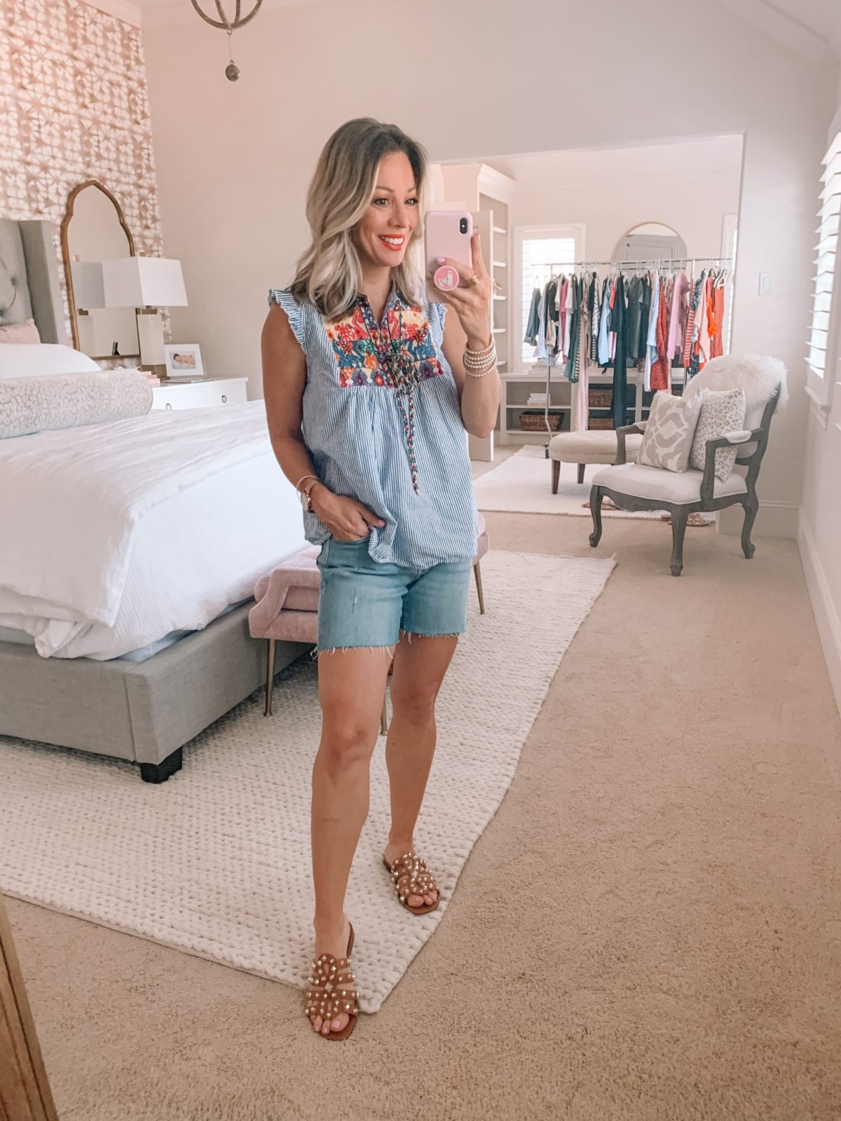 Amazon Fashion Finds, Embroidered Top, Jeans Shorts, Studded Sandals