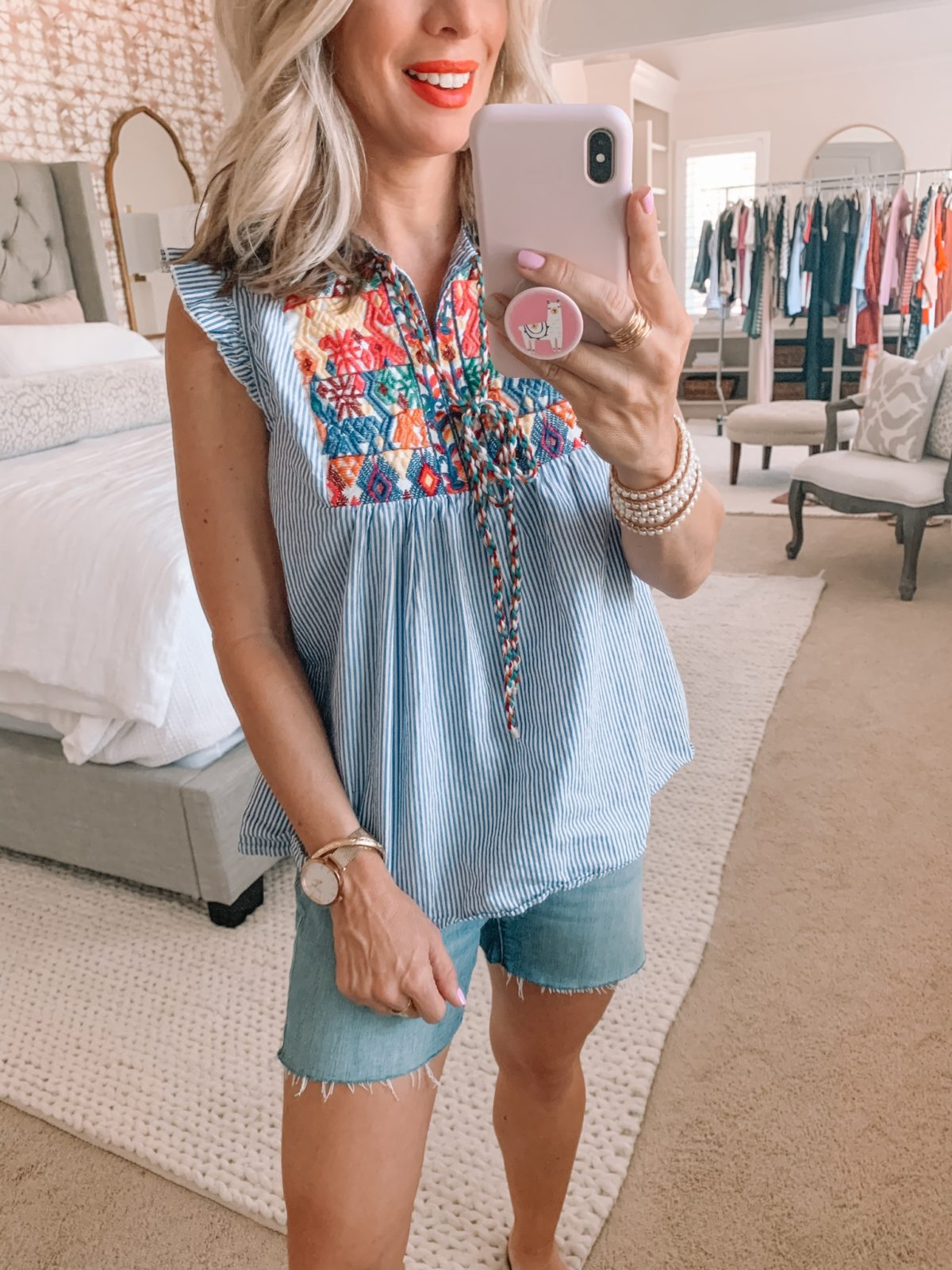 Amazon Fashion Finds, Embroidered Top Jean Shorts
