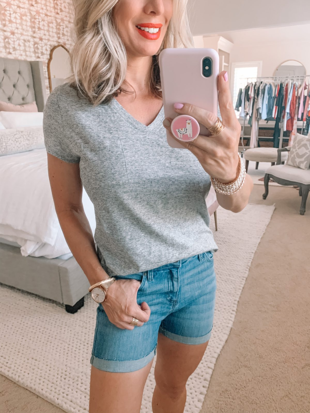 Amazon Fashion Finds, V-neck Tee, Jean Shorts