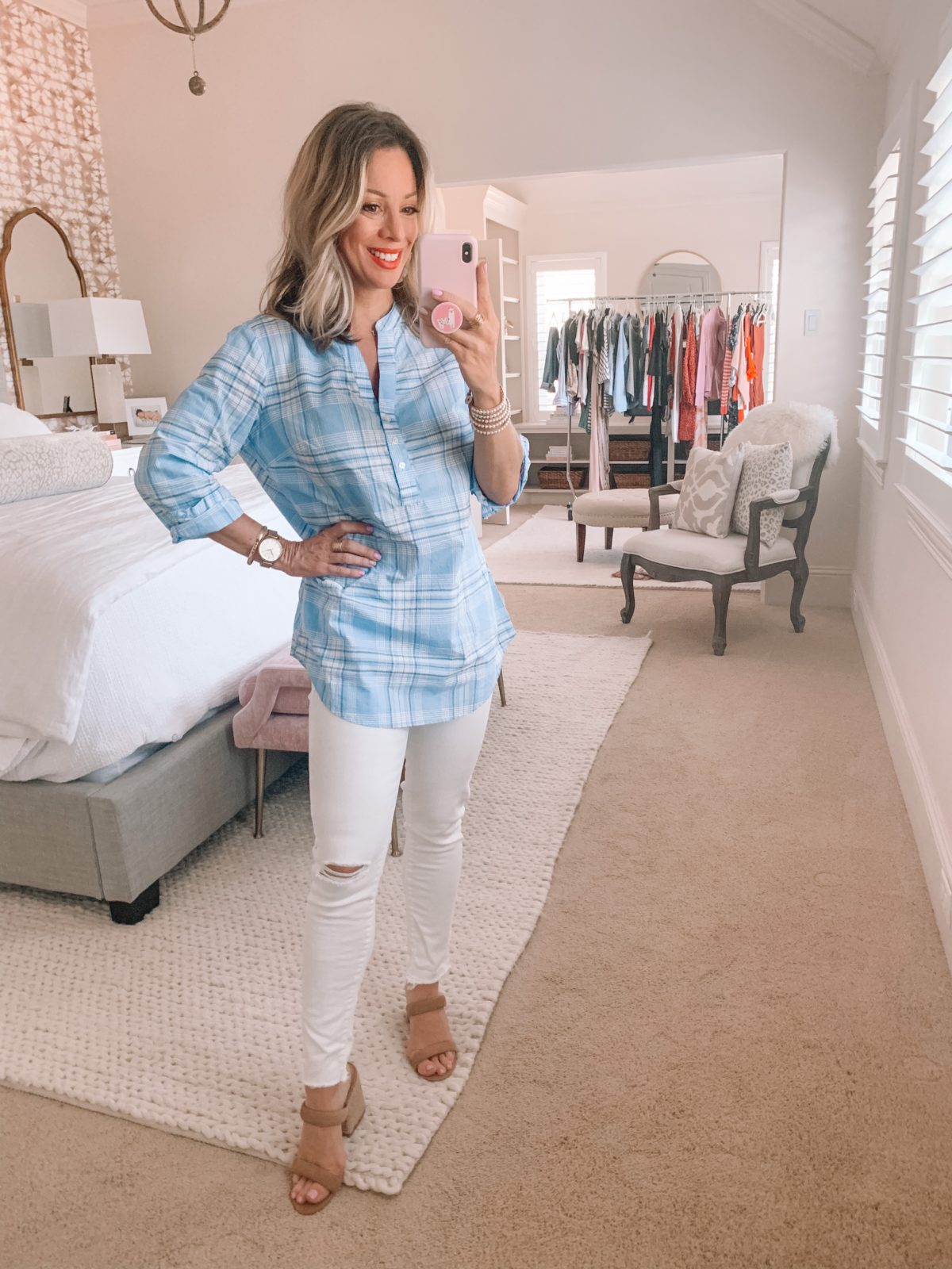 Amazon Fashion Finds, Blue Plaid Split Neck Top, White Distressed Jeans, Slide Sandals
