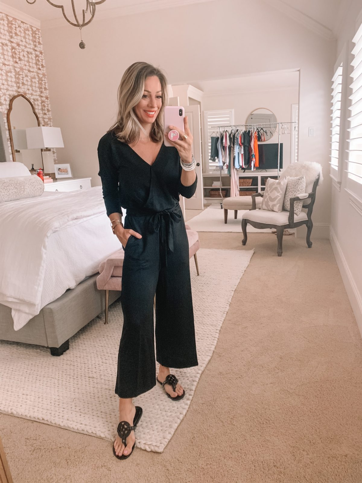 Amazon Fashion Finds, Black Jumpsuit, Miller Dupe Sandals