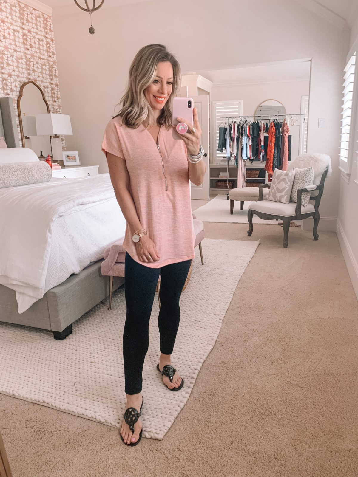 Amazon Fashion Finds, Zipper Tee, Ponte Leggings, Miller Dupe Sandals