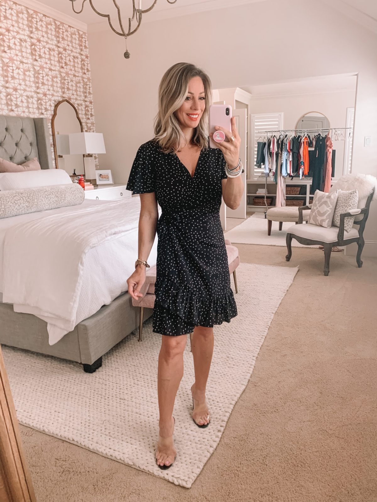 Amazon Fashion Finds, Polka Dot Wrap Mini Dress, Clear Heels