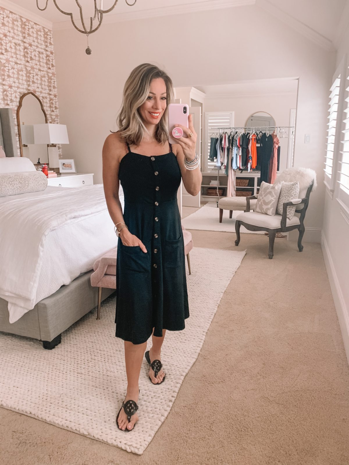Amazon Fashion Finds, Black Button Down Dress, Miller Dupe Sandals