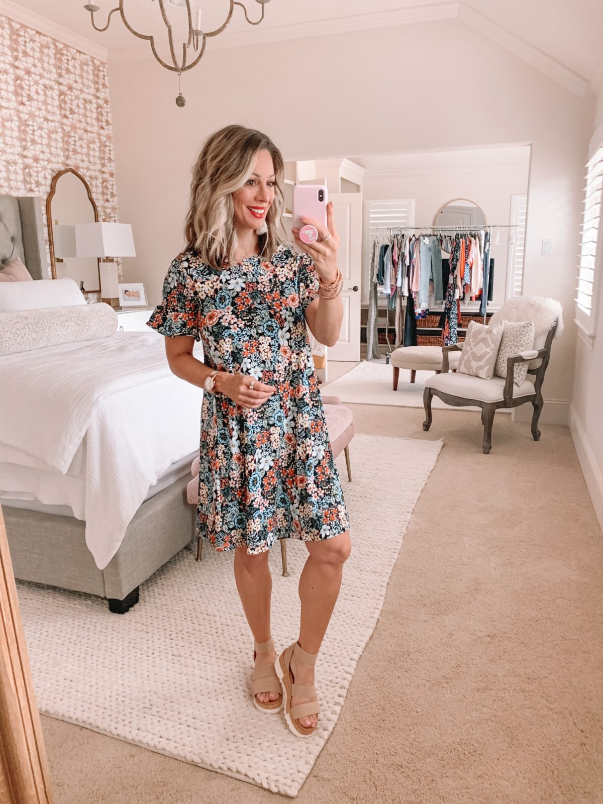 Dressing Room Fashion Finds Nordstrom & LOFT, Floral Swing Dress, Platform Sandals