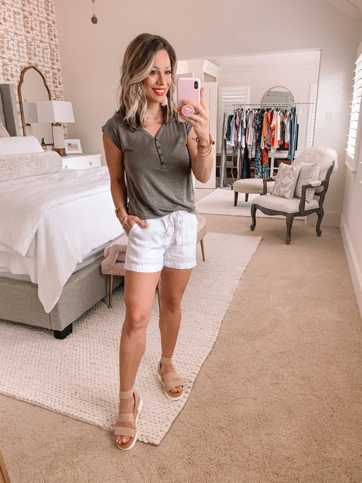 Dressing Room Nordstrom & LOFT, Henley Tee, Linen Shorts, Platform Sandals