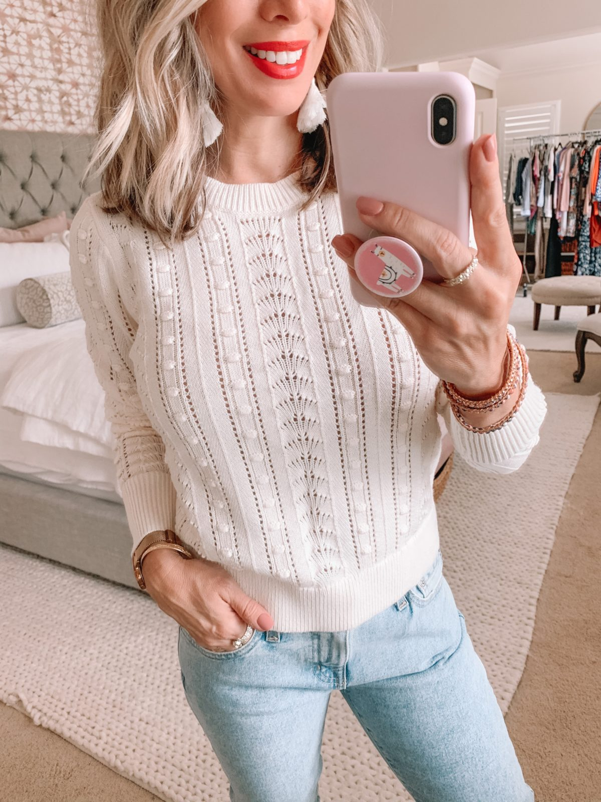Dressing Room Nordstrom & LOFT, Cropped Sweater, Ex-Boyfriend Jeans