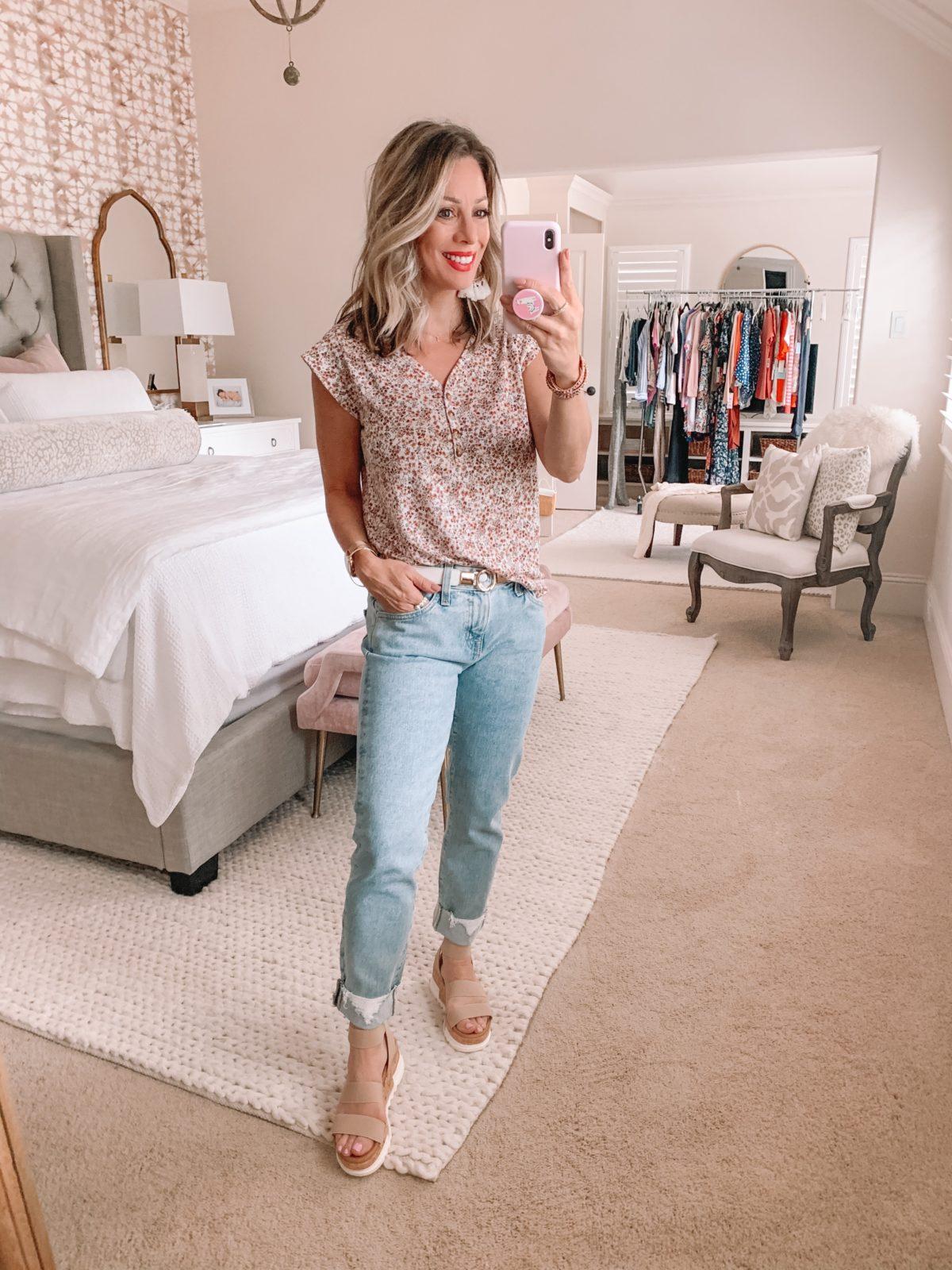 Dressing Room Nordstrom & LOFT, Floral Henley Tee, Ex-Boyfriend Jeans, Platform Sandals