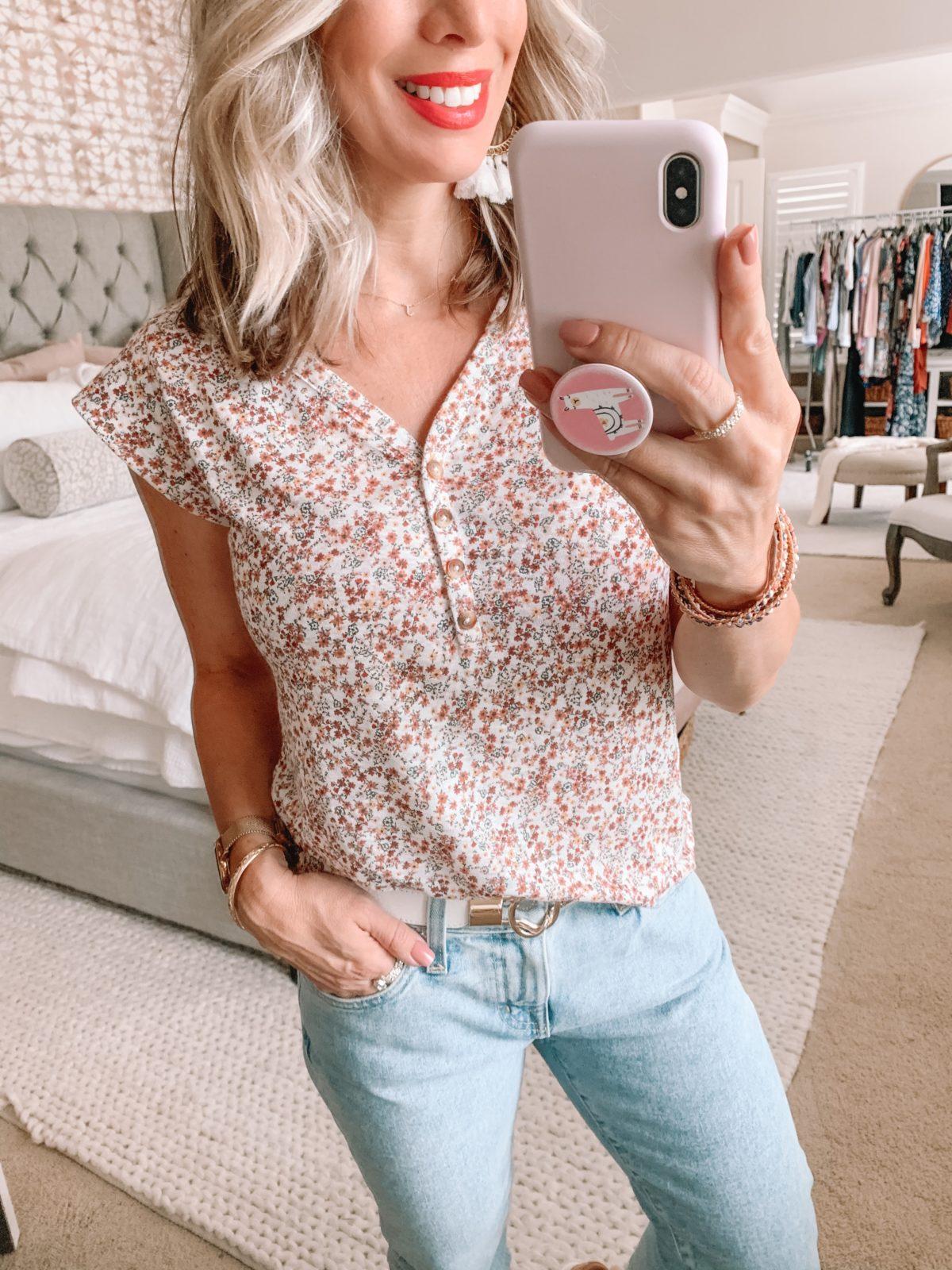 Dressing Room Nordstrom & LOFT, Floral Henley Tee, Ex-Boyfriend Jeans, Stretch Belt