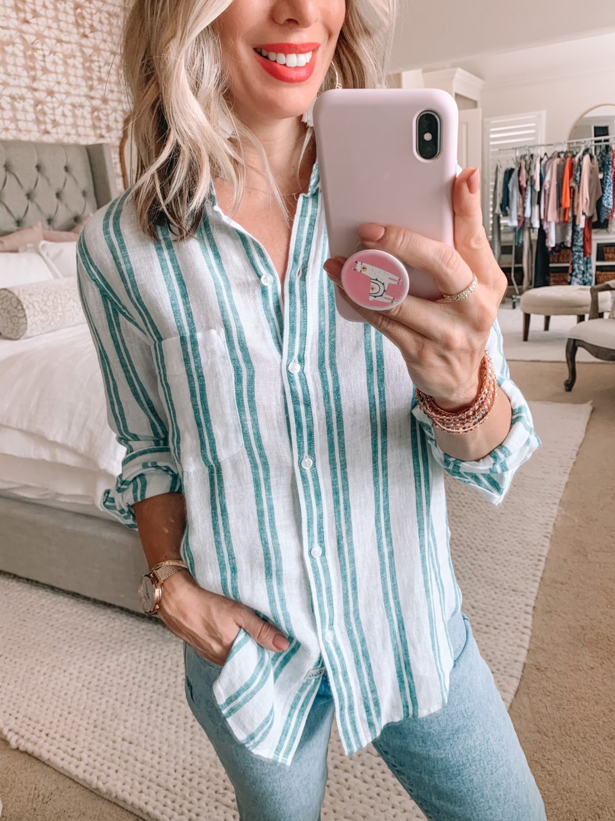 Dressing Room Nordstrom, Rails Green Stripe Button Down, Skinny Jeans