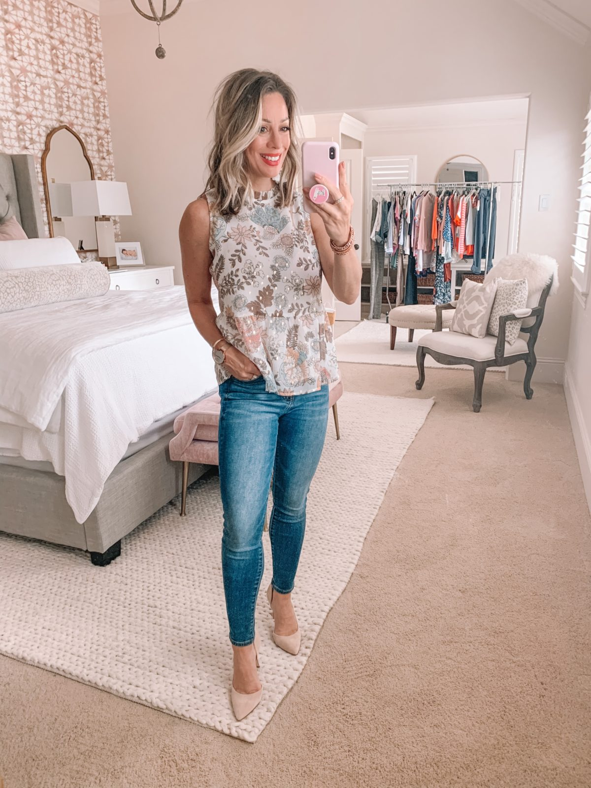 Dressing Room Nordstrom, Floral Pleated Top, Skinny Jeans, Heels