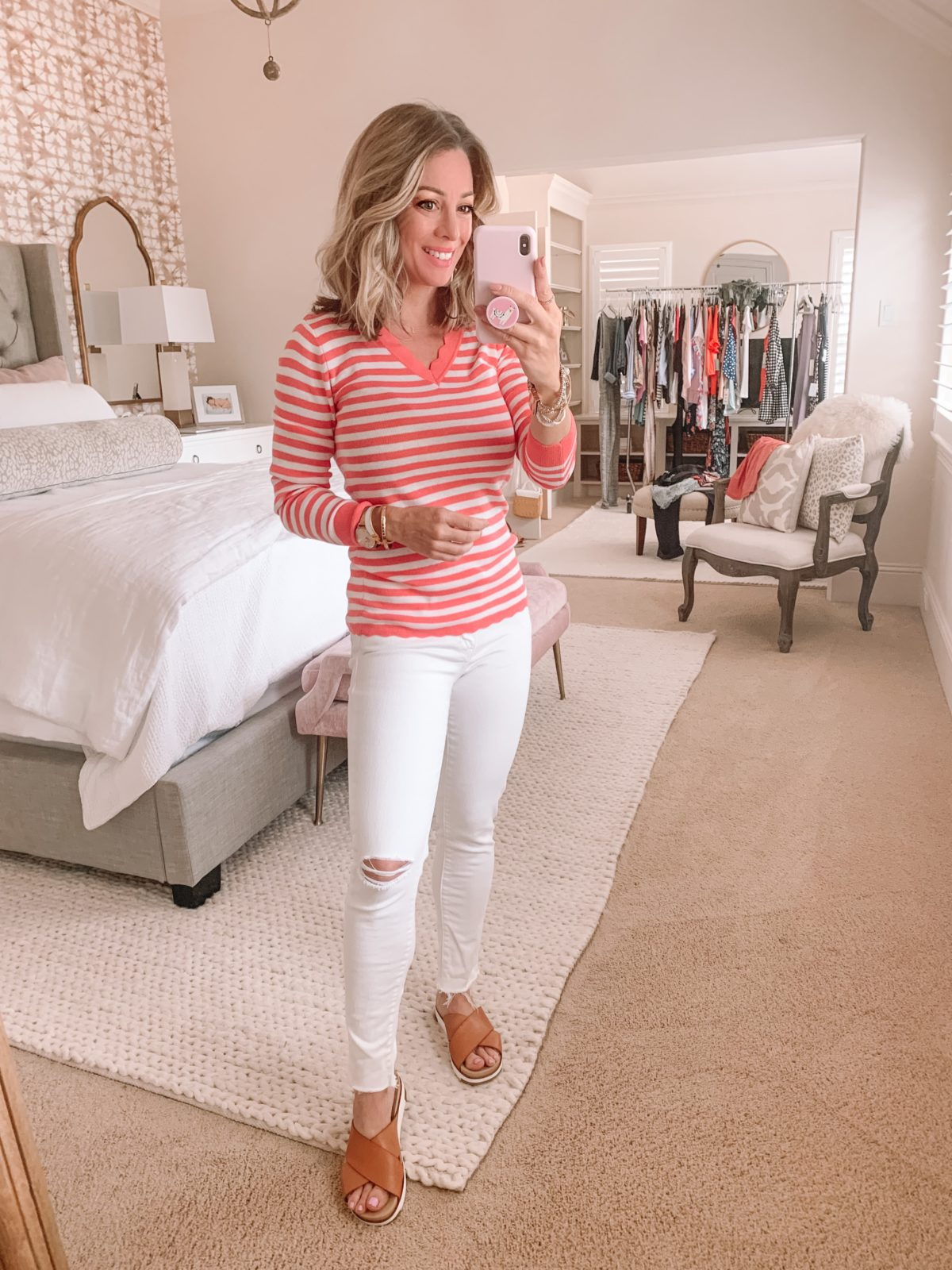 Dressing Room Finds Nordstrom and LOFT, Striped Scalloped Neck Sweater, White DIstressed Jeans, Slide Sandlas