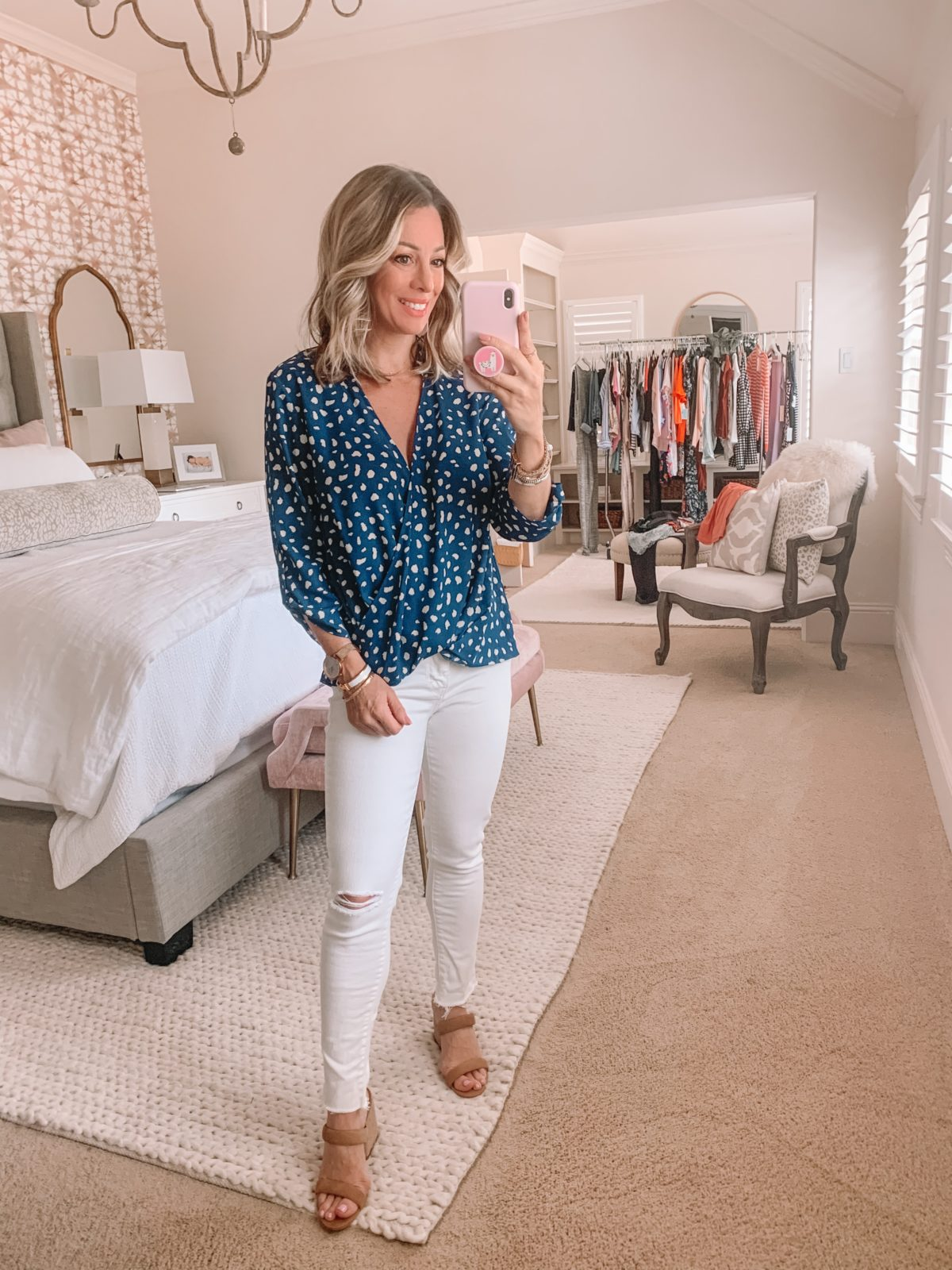 Dressing Room Finds Nordstrom and LOFT, Blue Dot Top, White Jeans, Slide Sandals