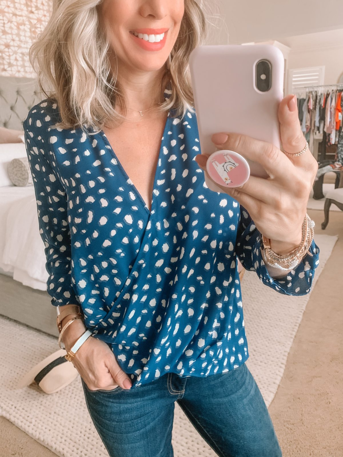Dressing Room Finds Nordstrom and LOFT, Blue Dot Top, Flare Jeans