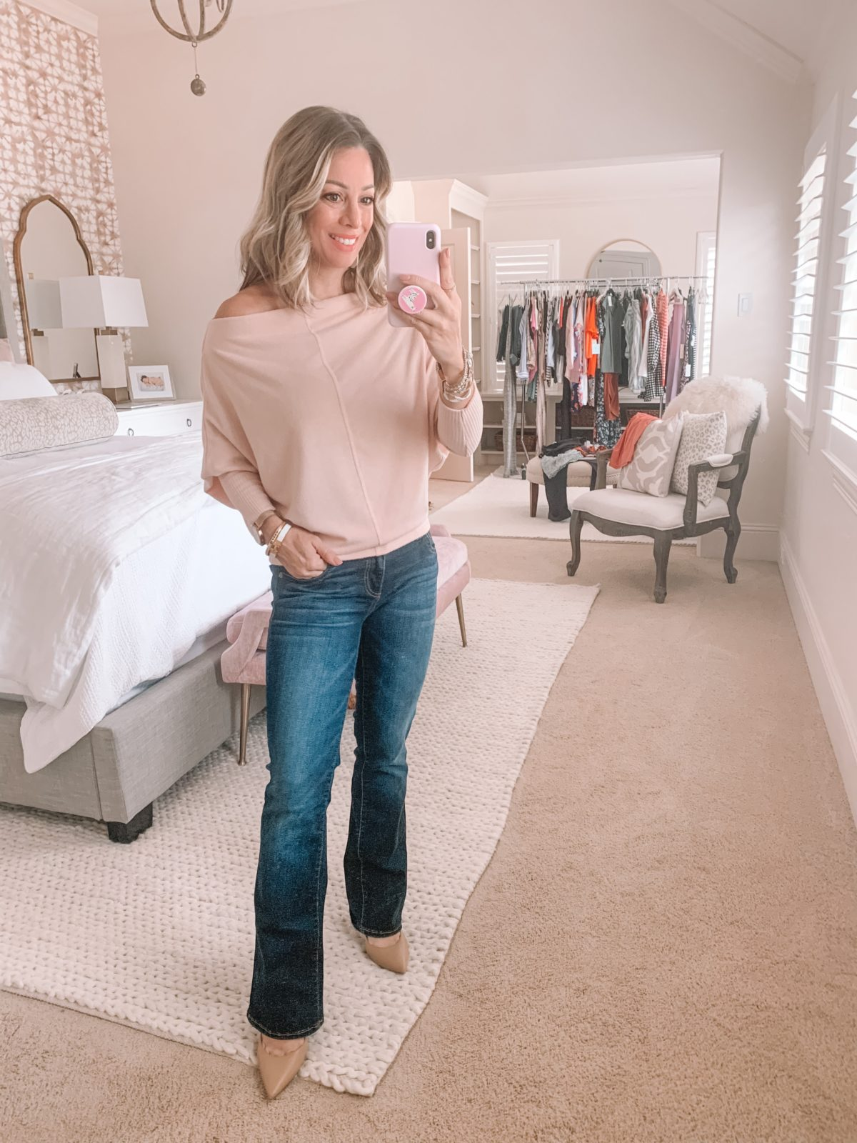 Dressing Room Finds Nordstrom and LOFT, Slouchy Long Sleeve Sweater, BootCut Jeans, Heels