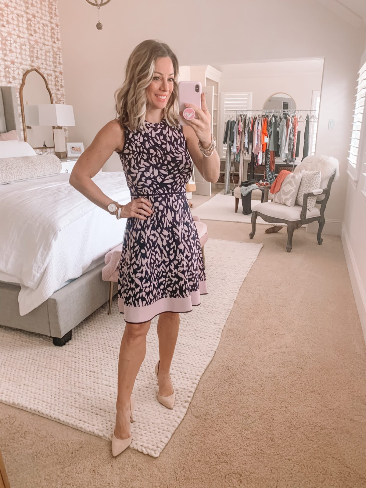 Dressing Room Finds Nordstrom and LOFT, Fit and Flare Sweater Dress, Heels