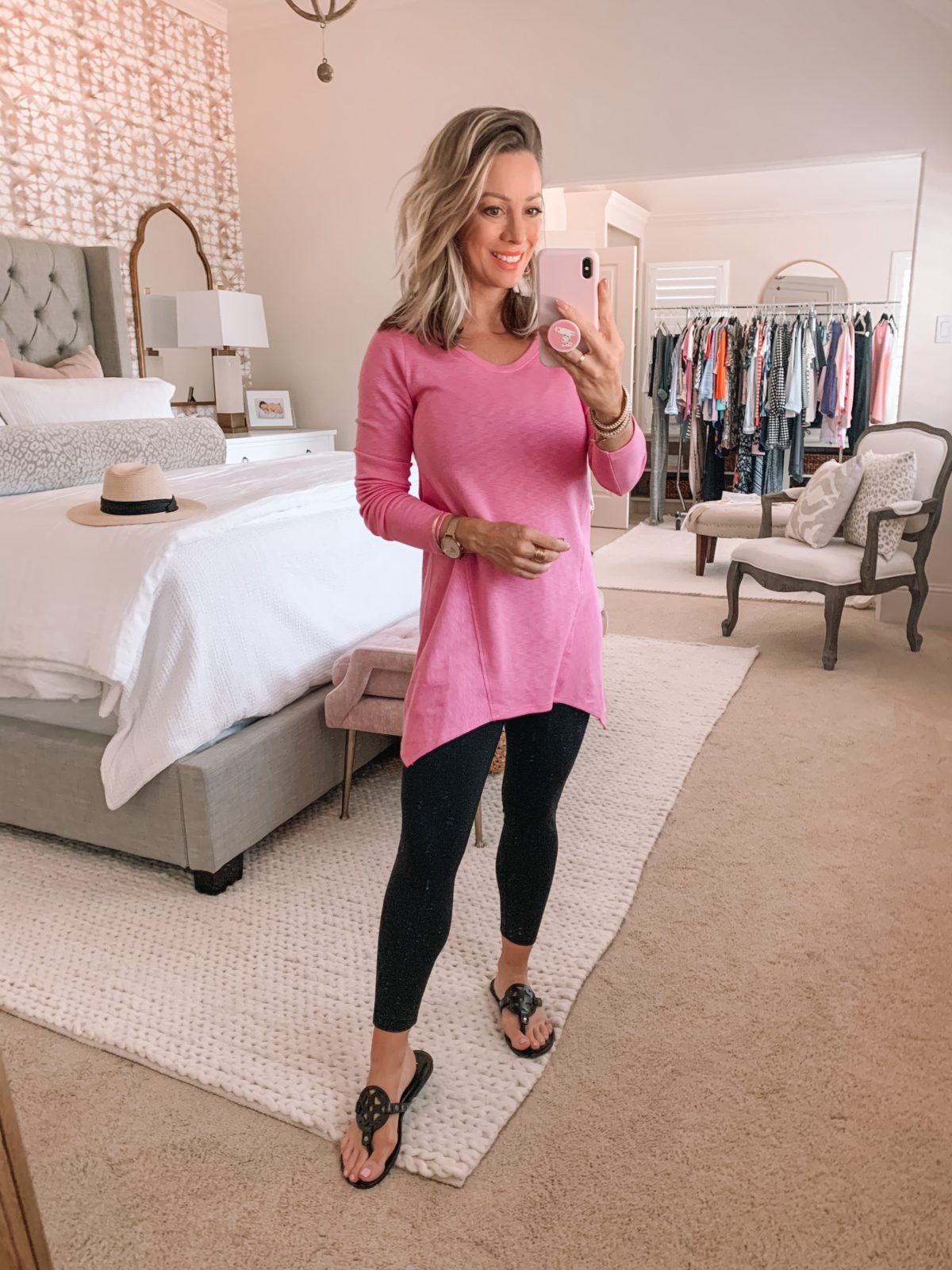Amazon Fashion Finds, Pink Hankerchief Tunic. Leggings, Sandals