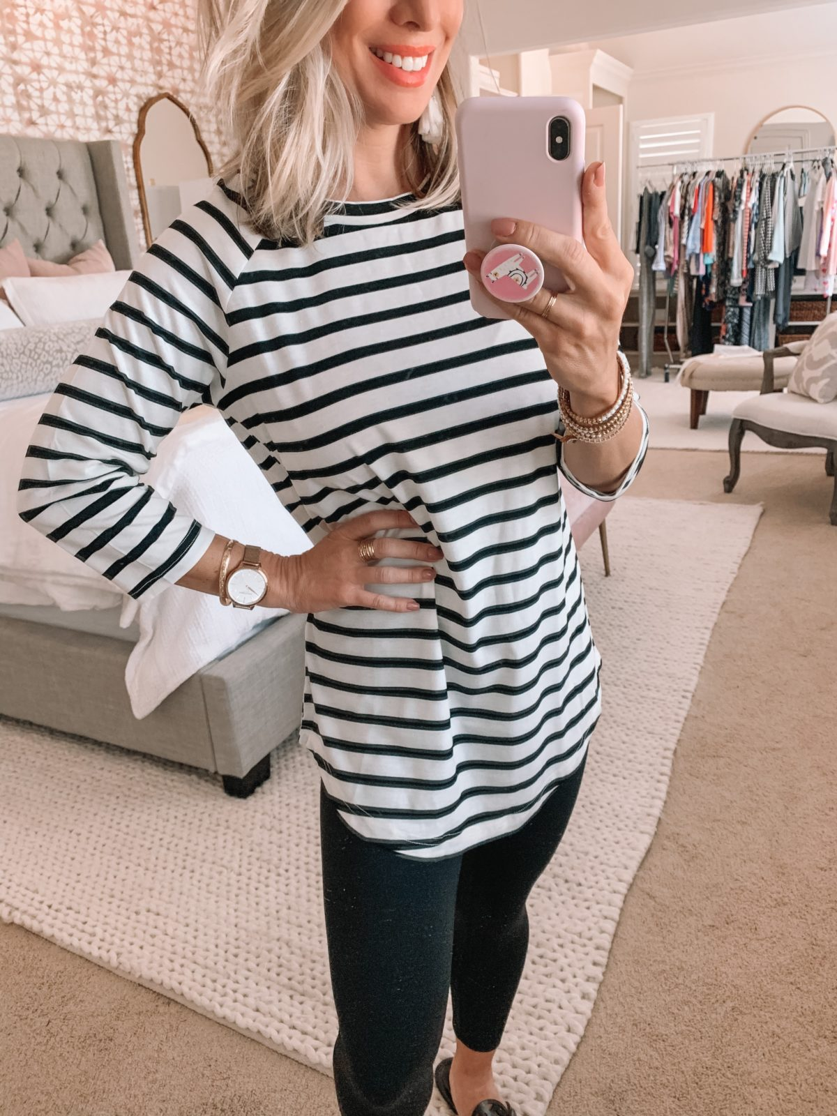 Amazon Fashion Finds, Striped Tunic Top, Leggings, Sandals