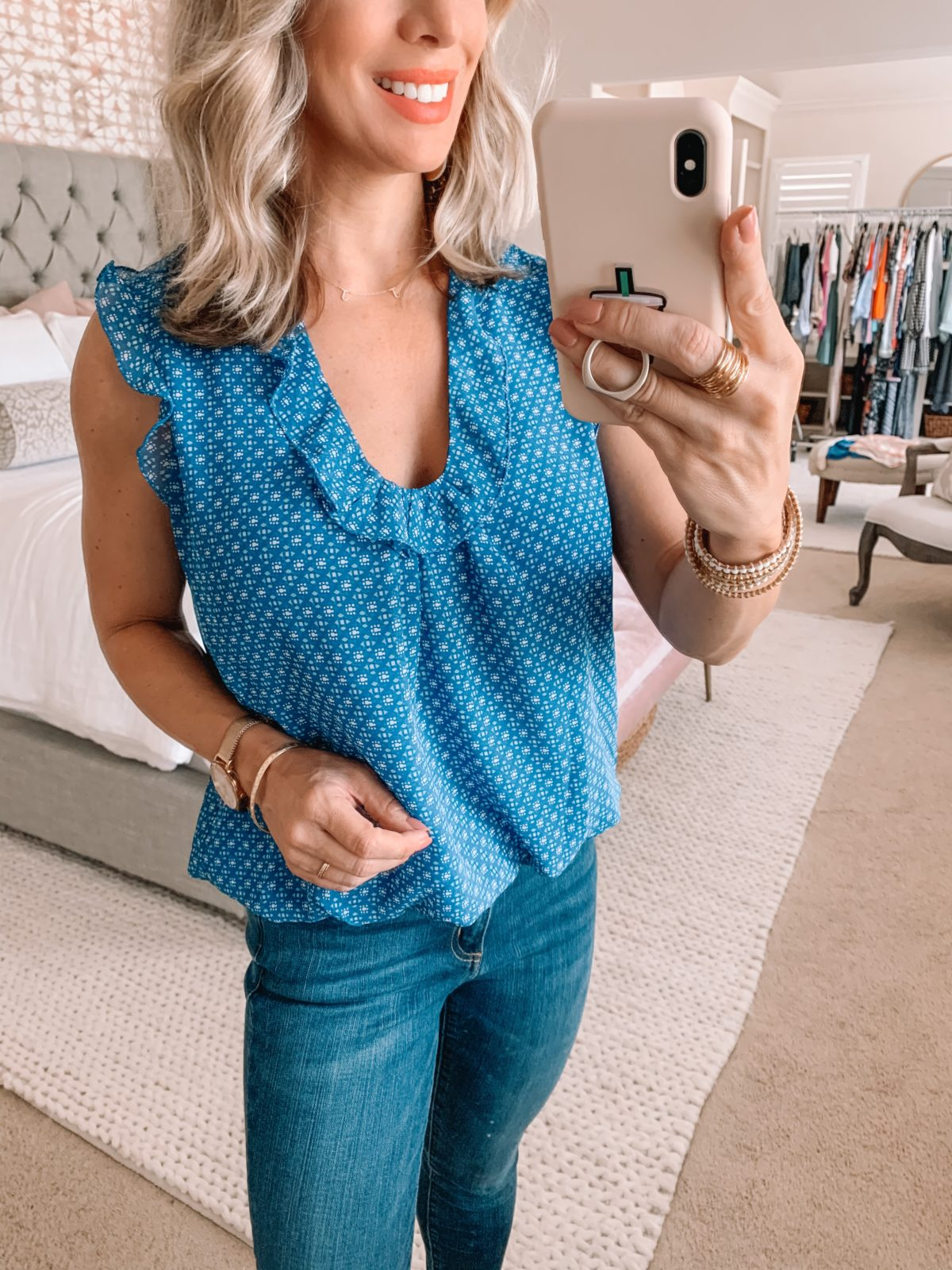 Amazon Fashion Finds, Blue Scoop Ruffle Neck Top, Skinny Jeans