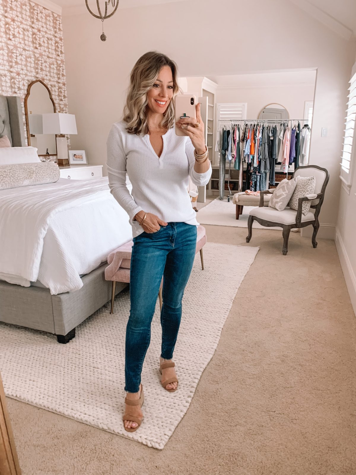 Amazon Fashion Finds, Waffle Knit Top, Skinny Jeans, Heels