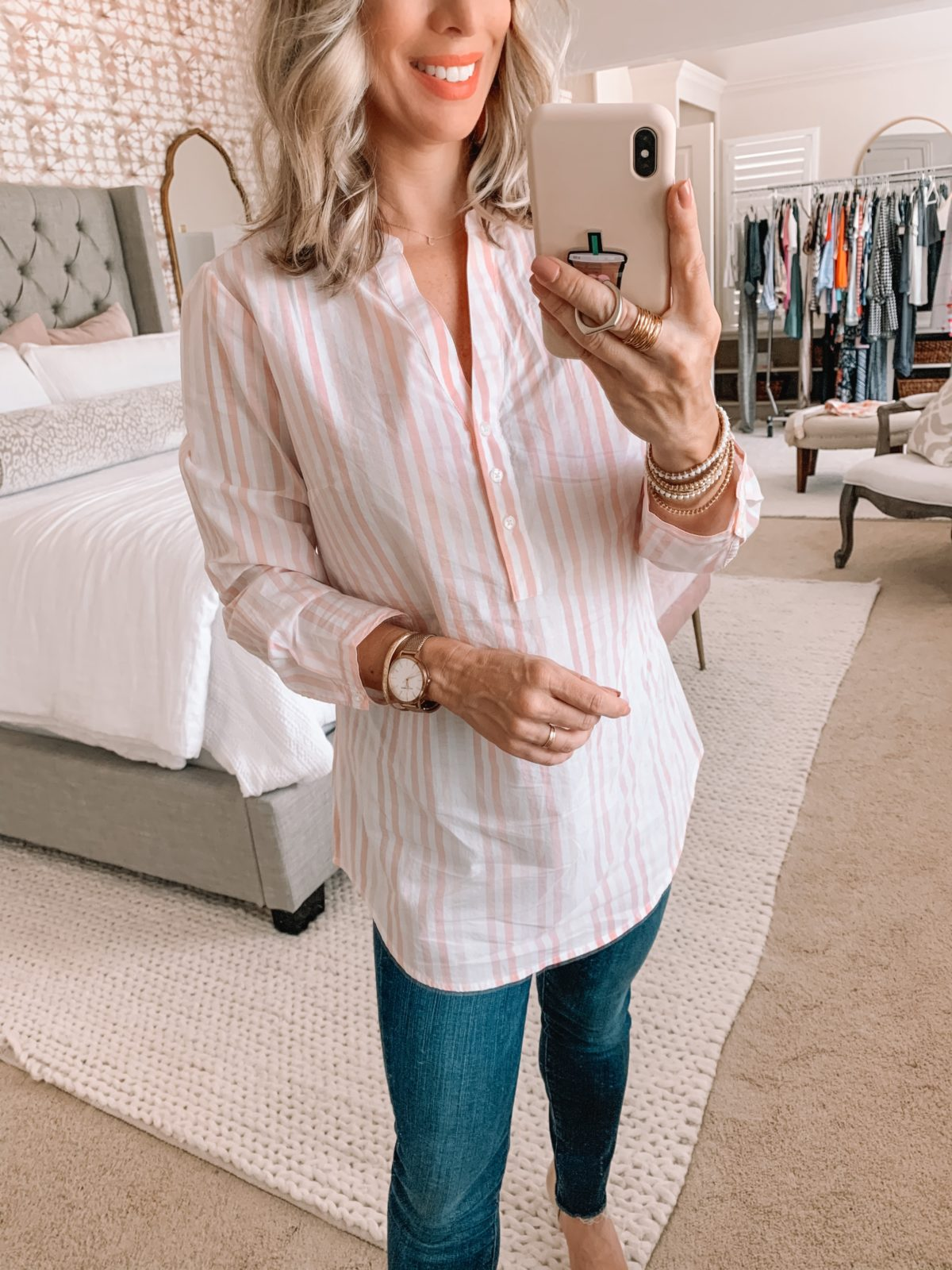 Amazon Fashion Finds, Striped Tunic Top, Skinny Jeans, Heels