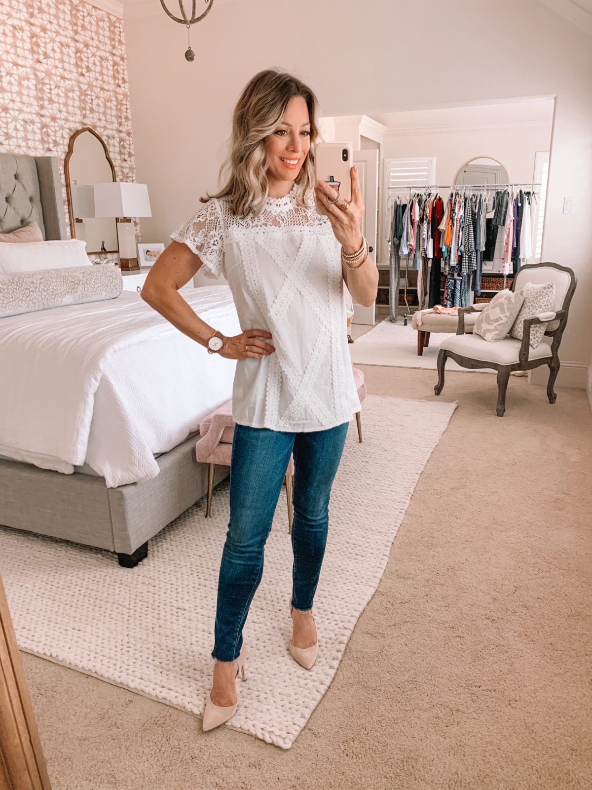 Amazon Fashion Finds, Lace Top, Skinny Jeans, Heels