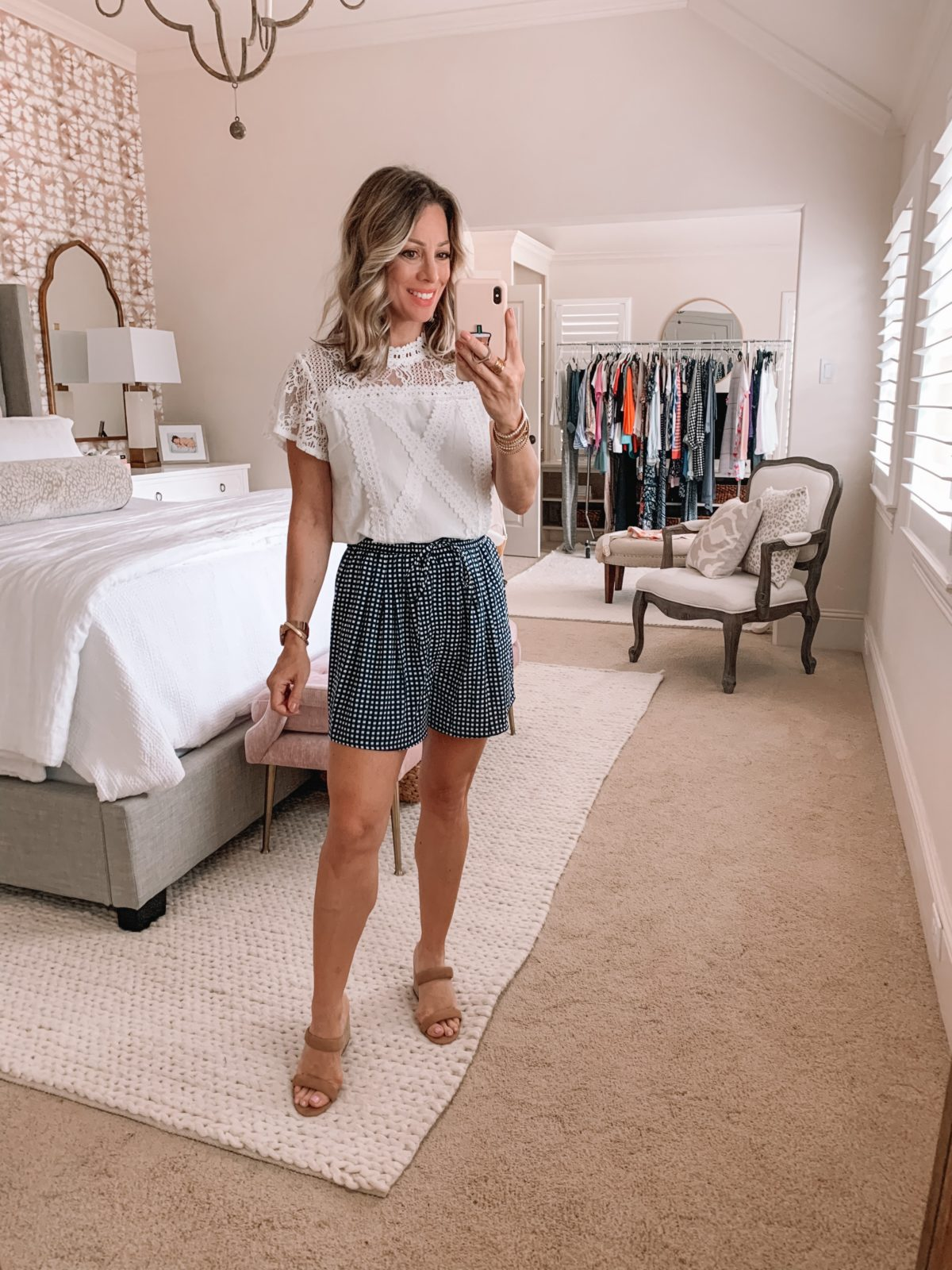Amazon Fashion Finds, Lace Top, Checkered Shorts, Sandals