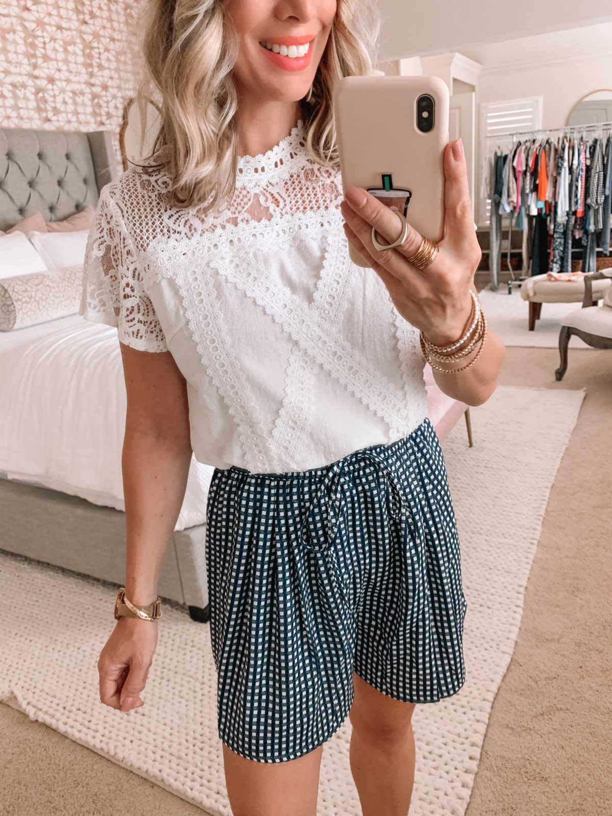 Amazon Fashion Finds, Lace Top, Checkered Shorts