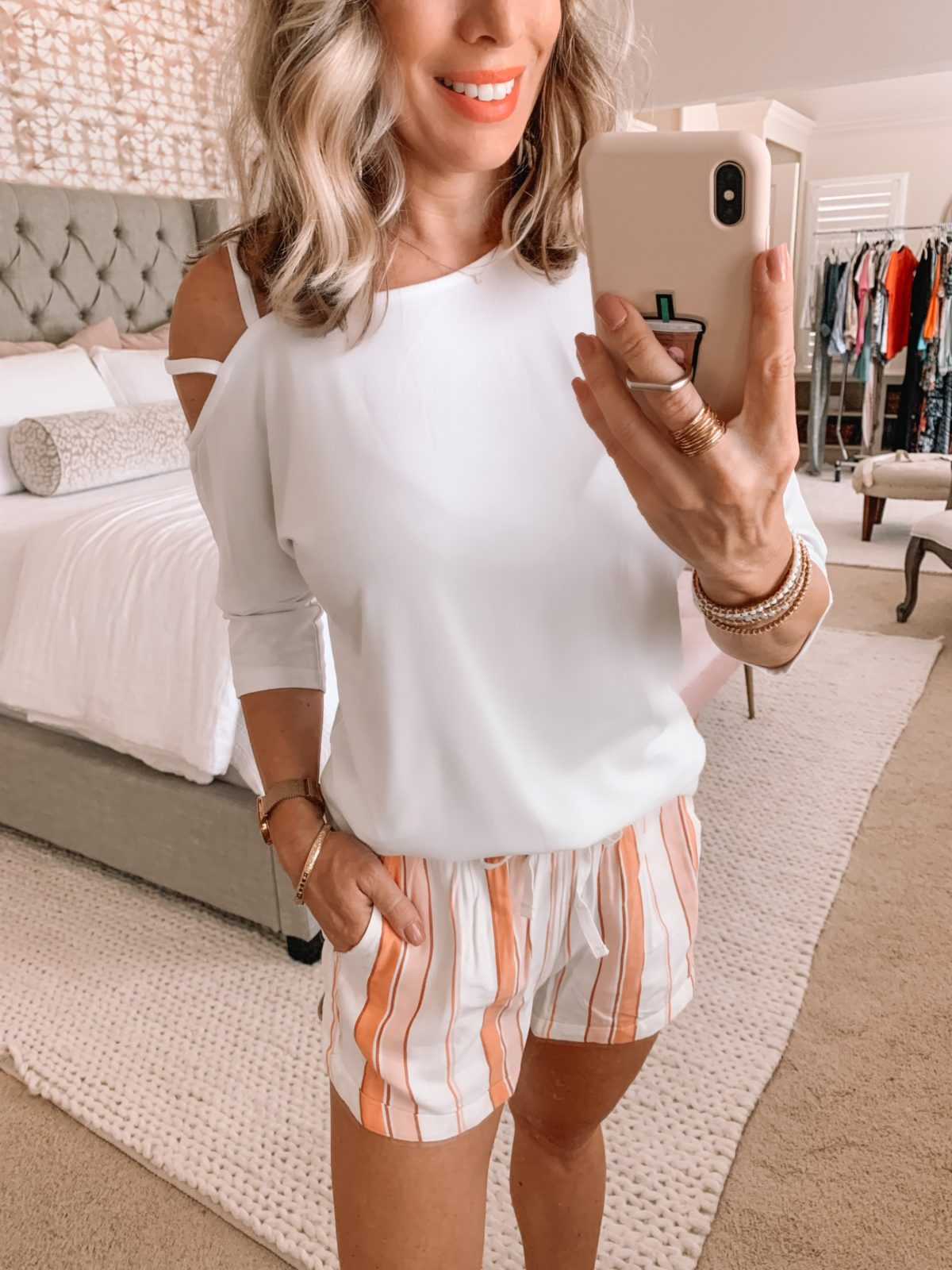Amazon Fashion Finds, One Shoulder Strappy Top, Striped Shorts