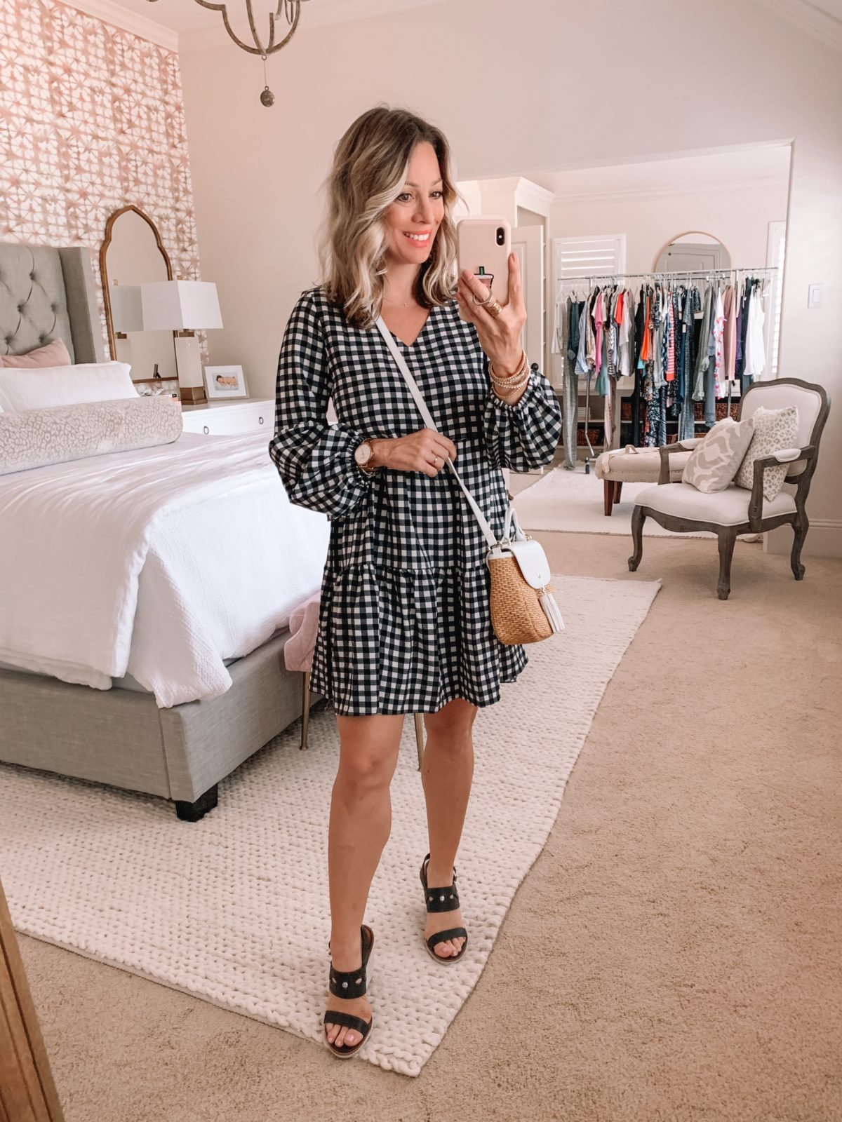Amazon Fashion Finds, Checkered Boho Dress, Black Wedges, Straw Crossbody