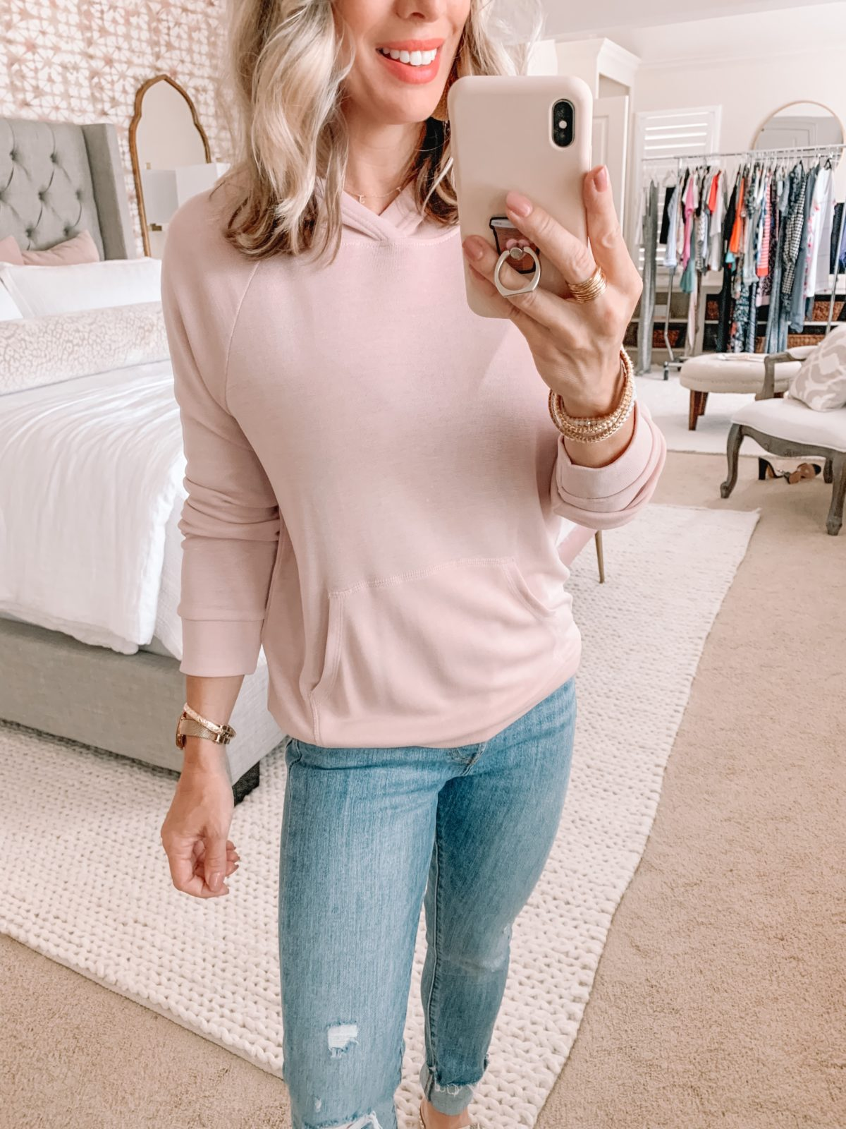 Amazon Fashion Finds, Pink Kangaroo Pocket Pullover, Distressed Jeans