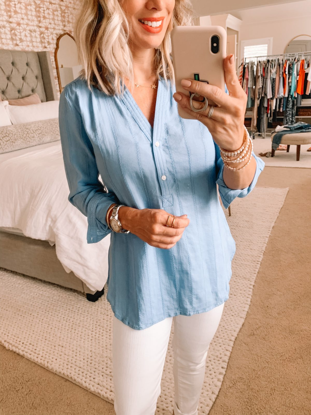 Tunic top and white jeans