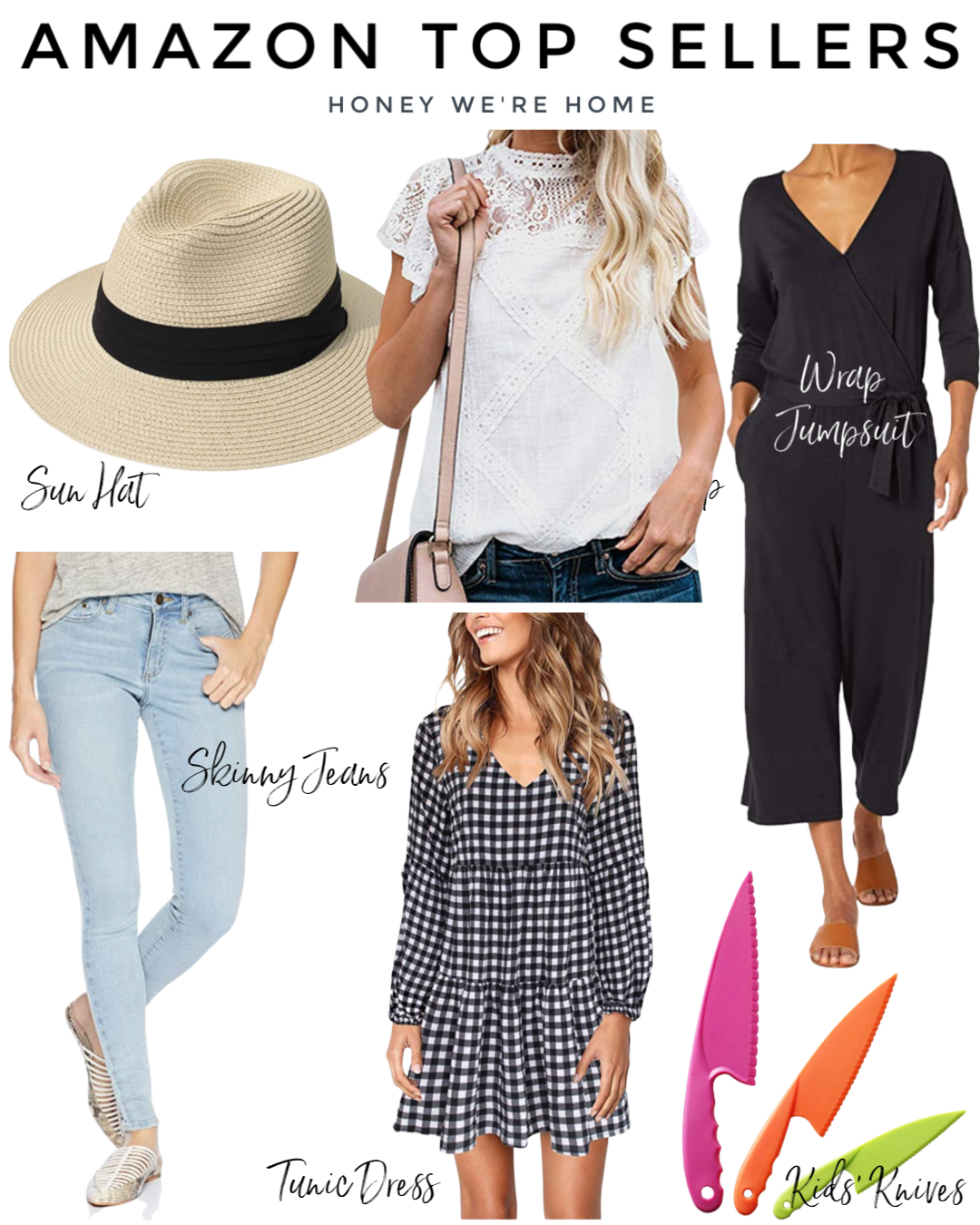 Amazon Top Sellers, Sun Hat, Skinny Jeans, Lace Top, Wrap Jumpsuit, Gingham Boho Dress, Kids Knives