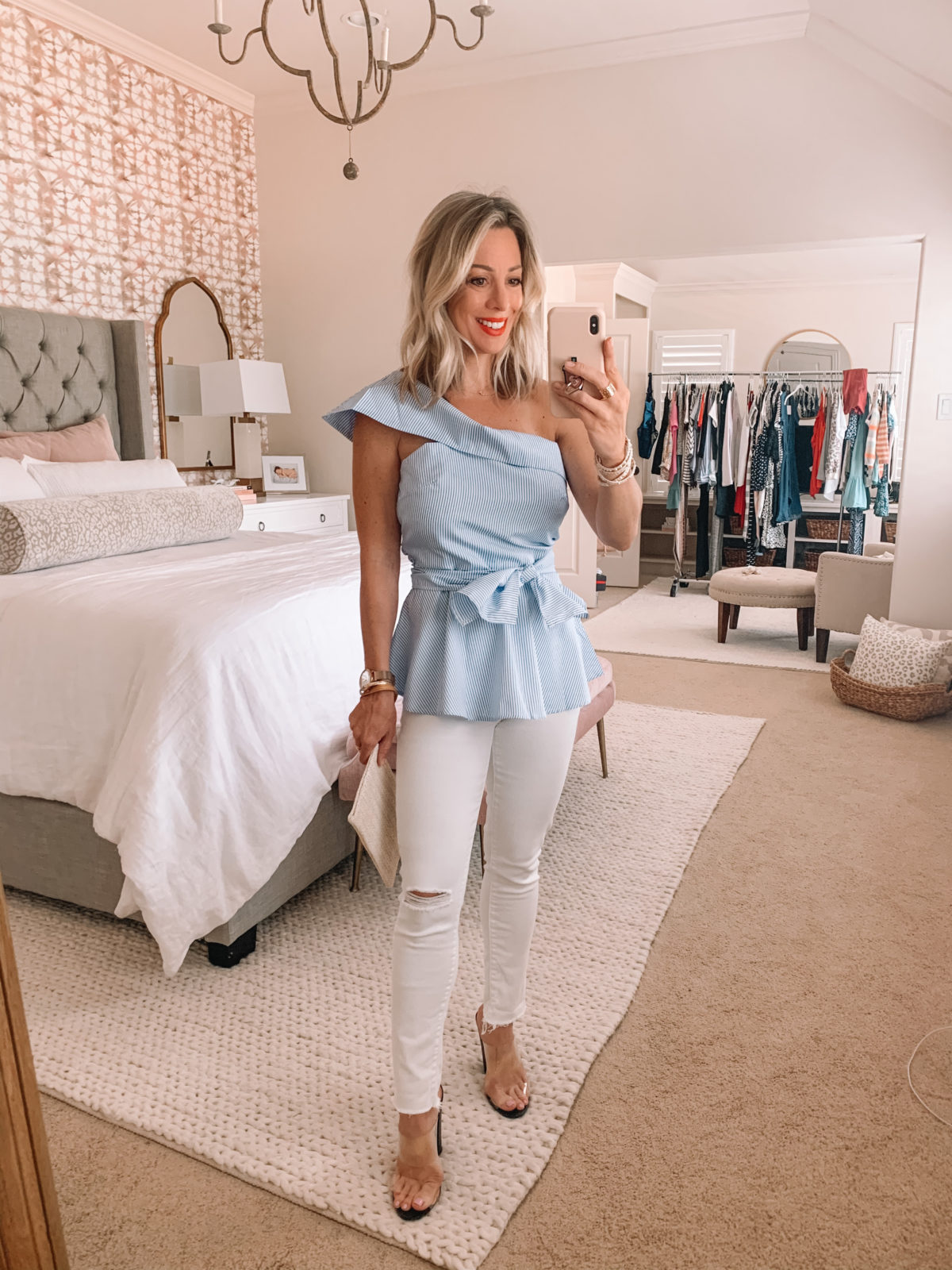 Amazon Fashion Finds, Striped Peplum One Shoulder Top, Distressed White Skinny Jeans, Clear Heels, Woven Clutch