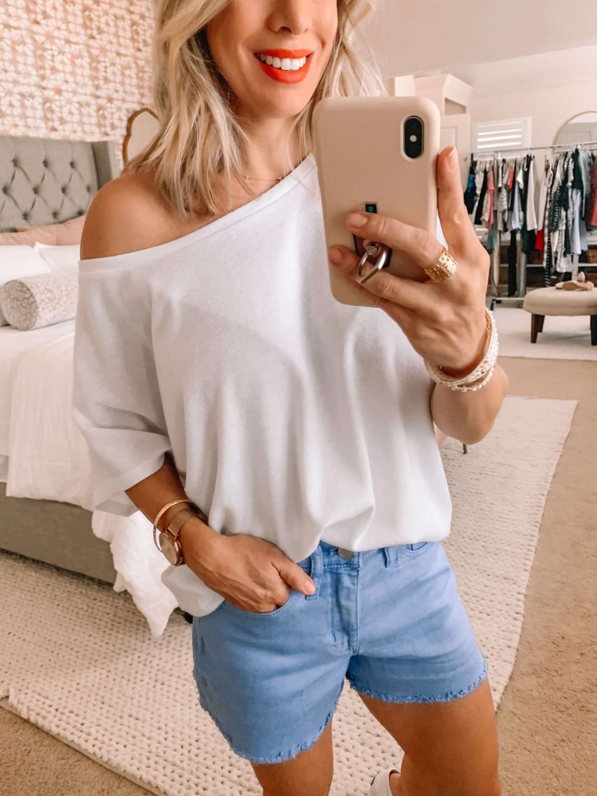 Amazon Fashion Finds, Dolman Sleeve Top, Raw Hem Shorts