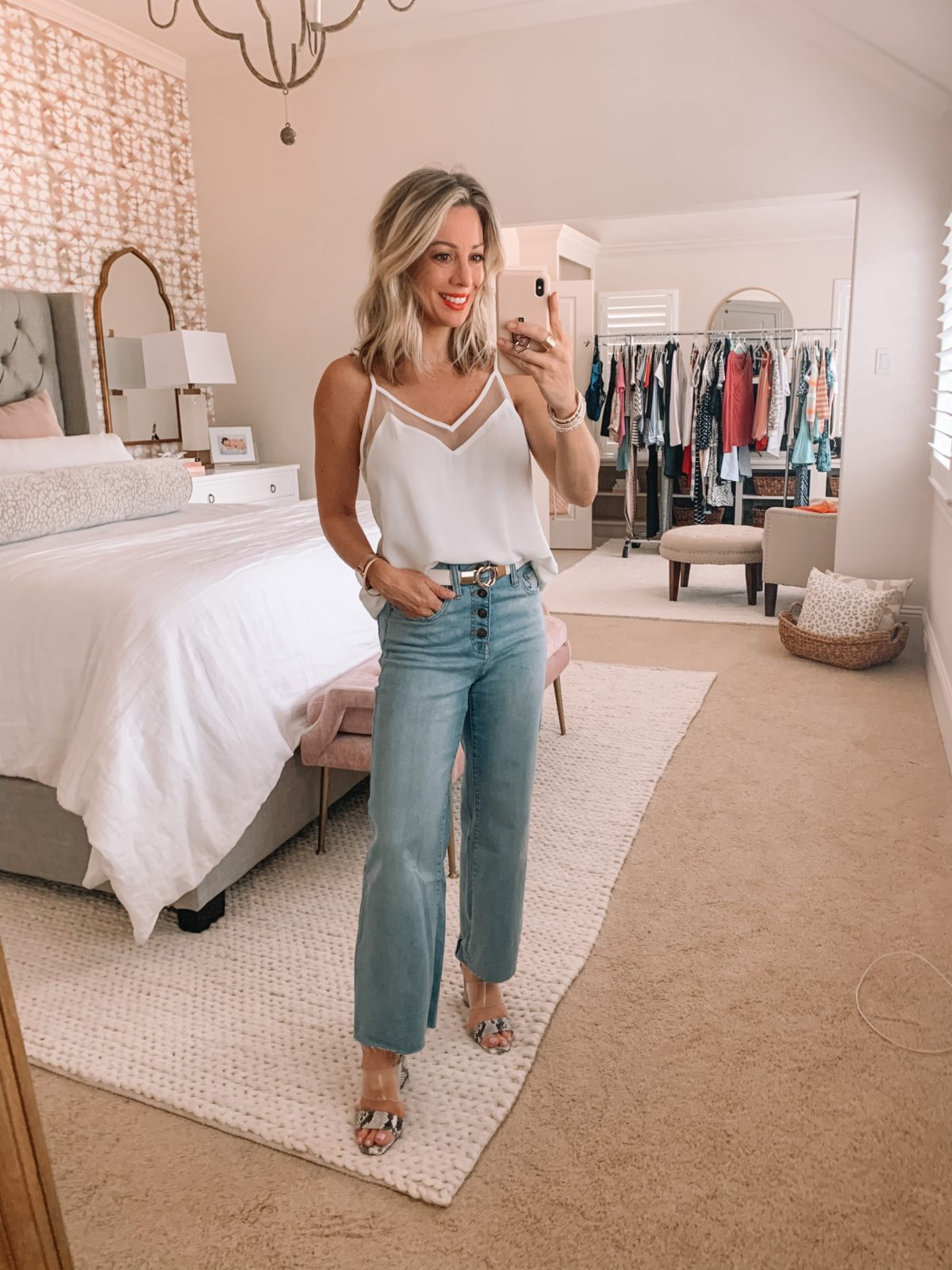 Amazon Fashion Finds, Cami, Wide Leg Button Fly Jeans, Snake Print Sandals, Belt