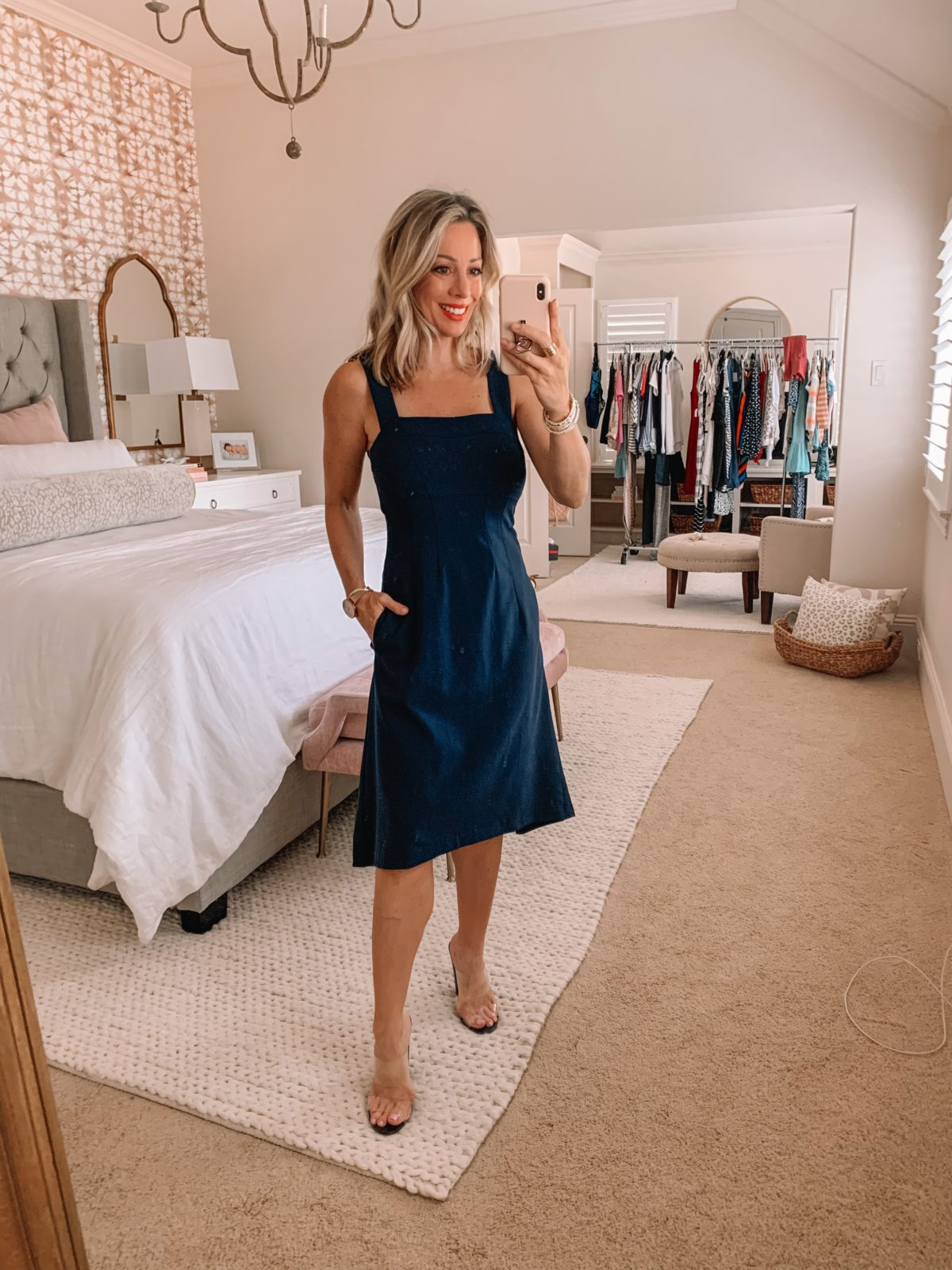 Amazon Fashion Finds, Square Neck Fit and Flare Dress, Clear Heels