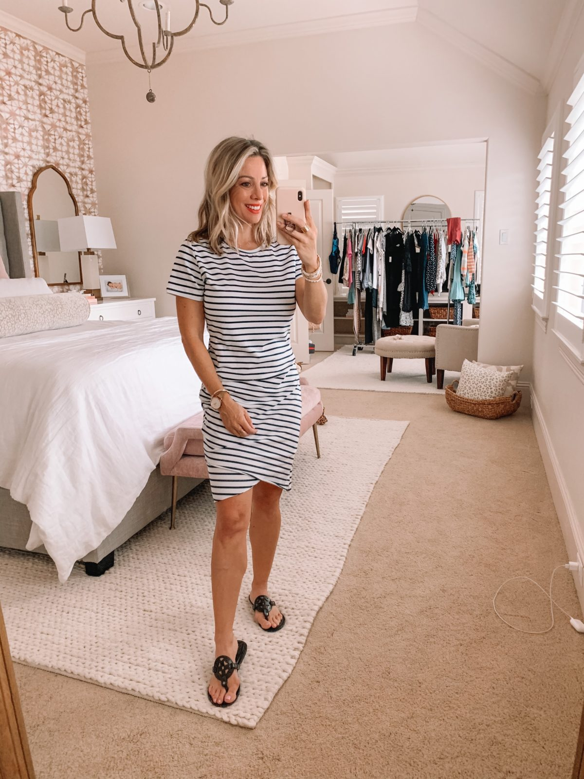 Amazon Fashion Finds, Striped Body Con Dress, Sandals