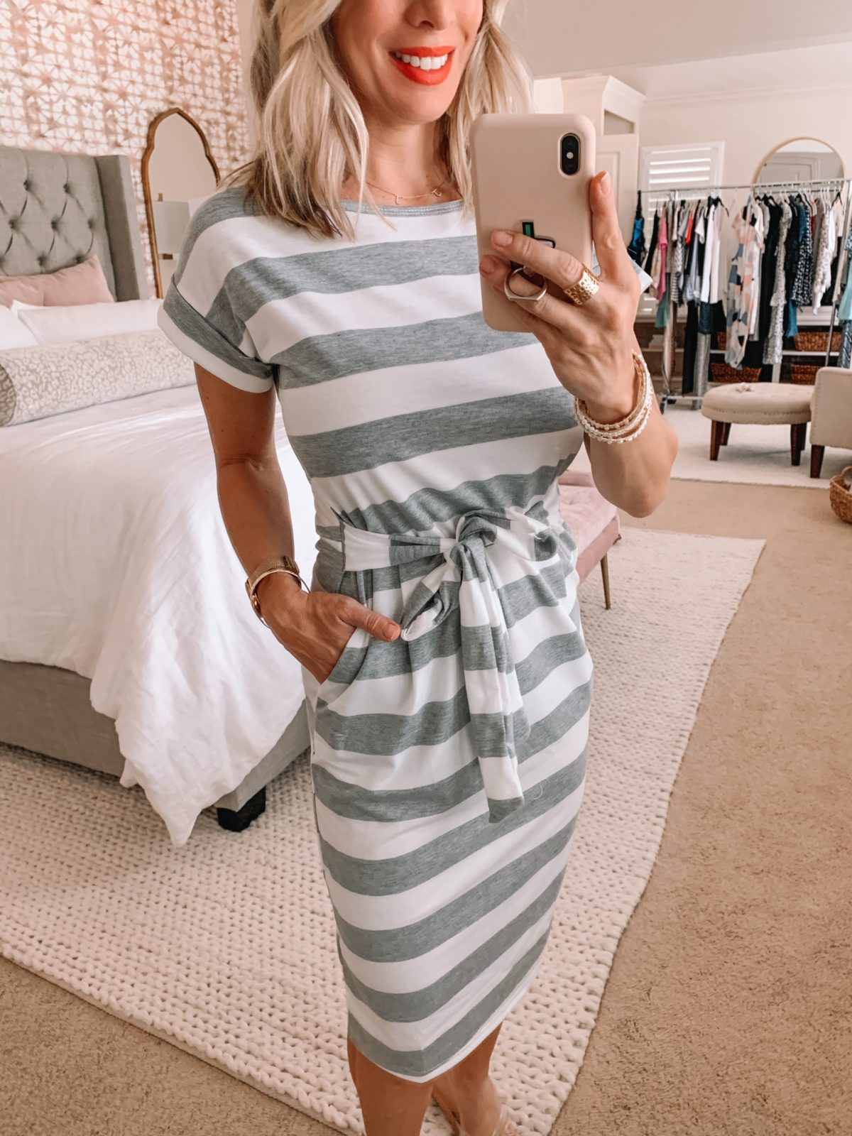 Amazon Fashion Finds, Striped Short Sleeved Dress with Tie Belt