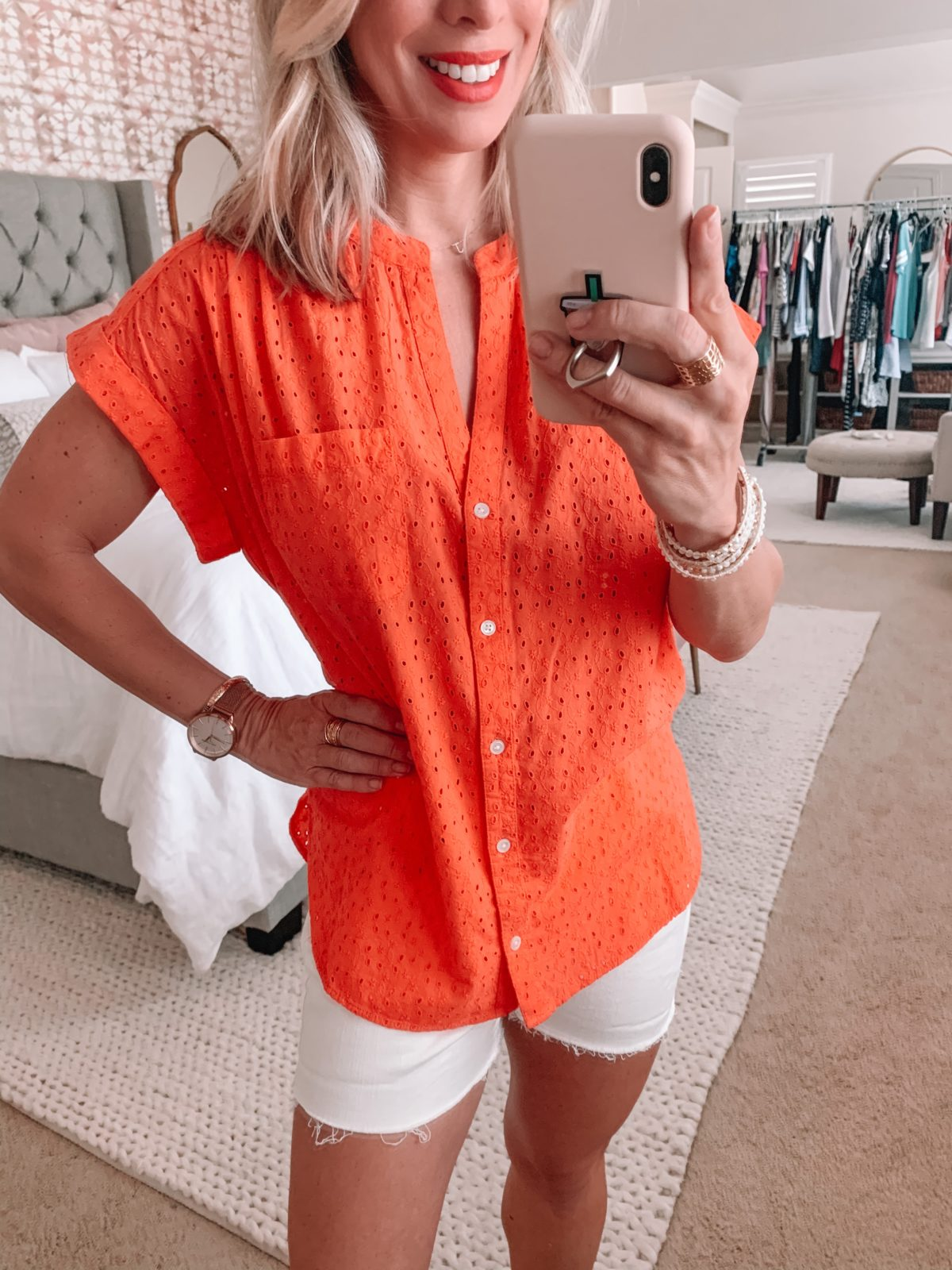 Amazon Fashion Finds, Eyelet Short Sleeved Top, White Denim Shorts