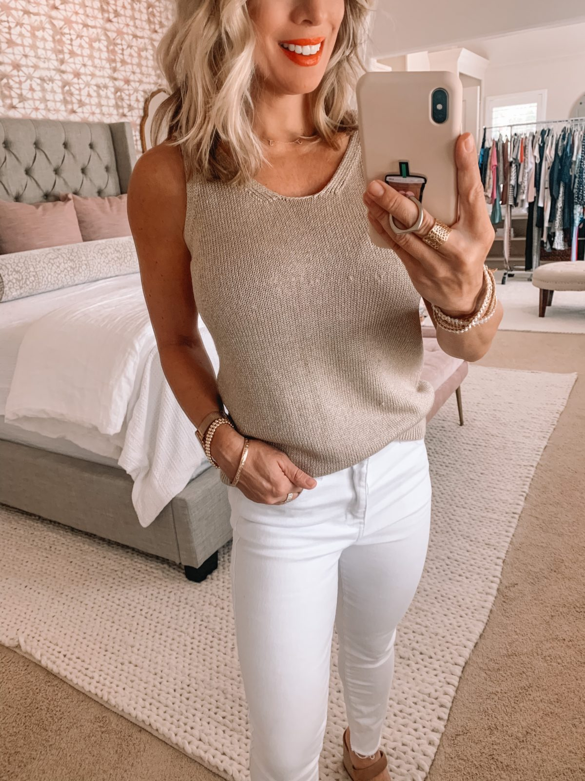 Summer Outfit - white jeans and sweater tank
