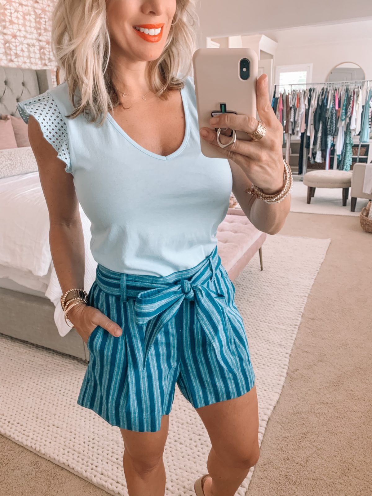 Summer outfit - blue shorts and top